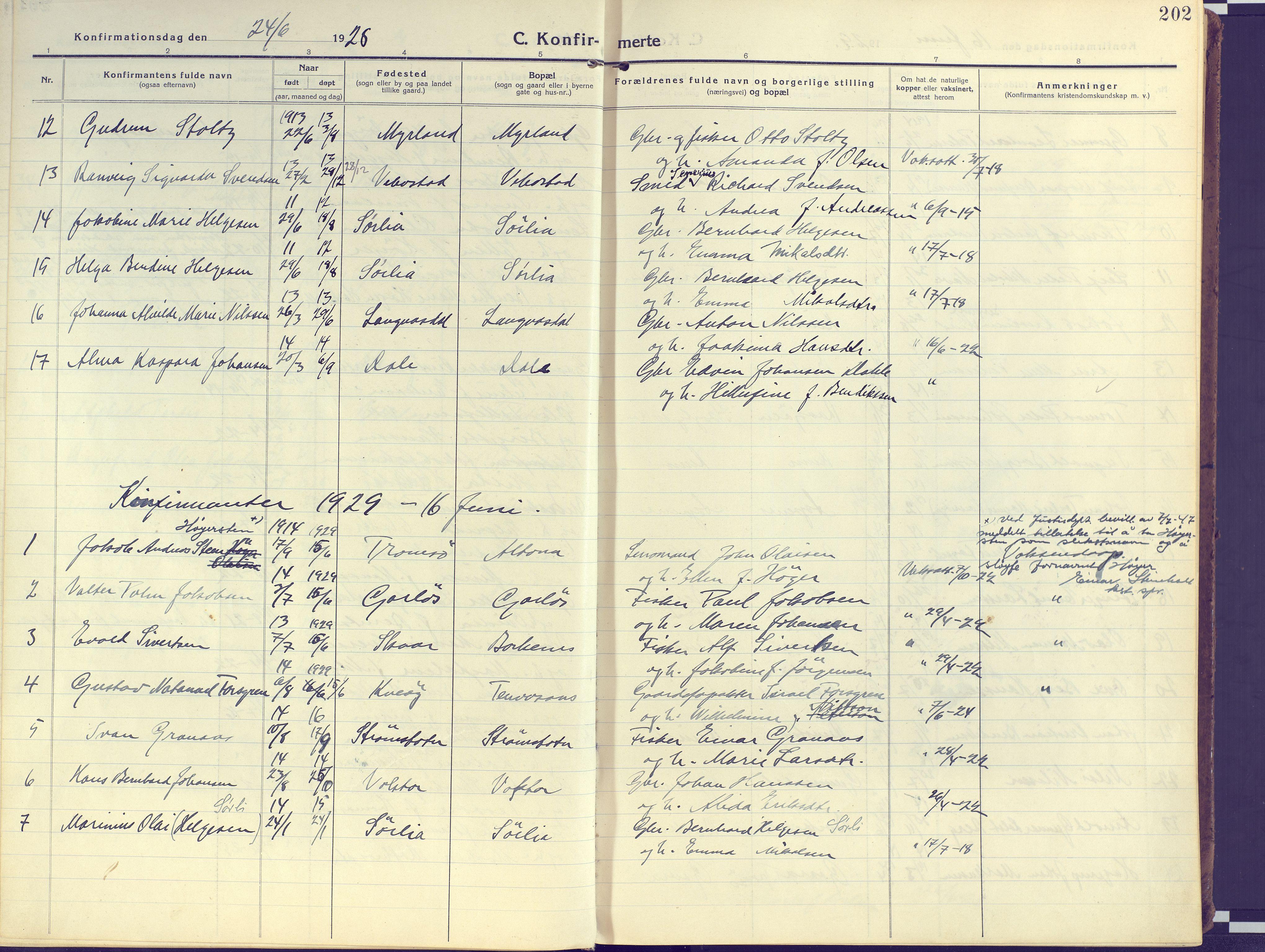 SATØ, Kvæfjord sokneprestkontor, G/Ga/Gaa/L0007kirke: Ministerialbok nr. 7, 1915-1931, s. 202