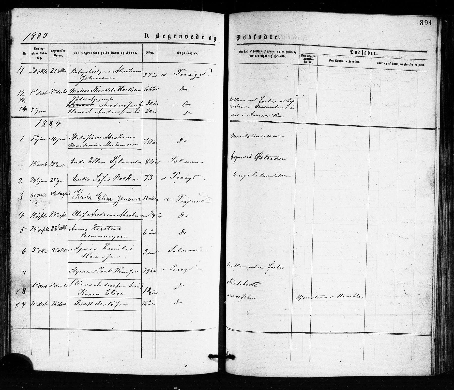 SAKO, Porsgrunn kirkebøker , G/Ga/L0003: Klokkerbok nr. I 3, 1877-1915, s. 394