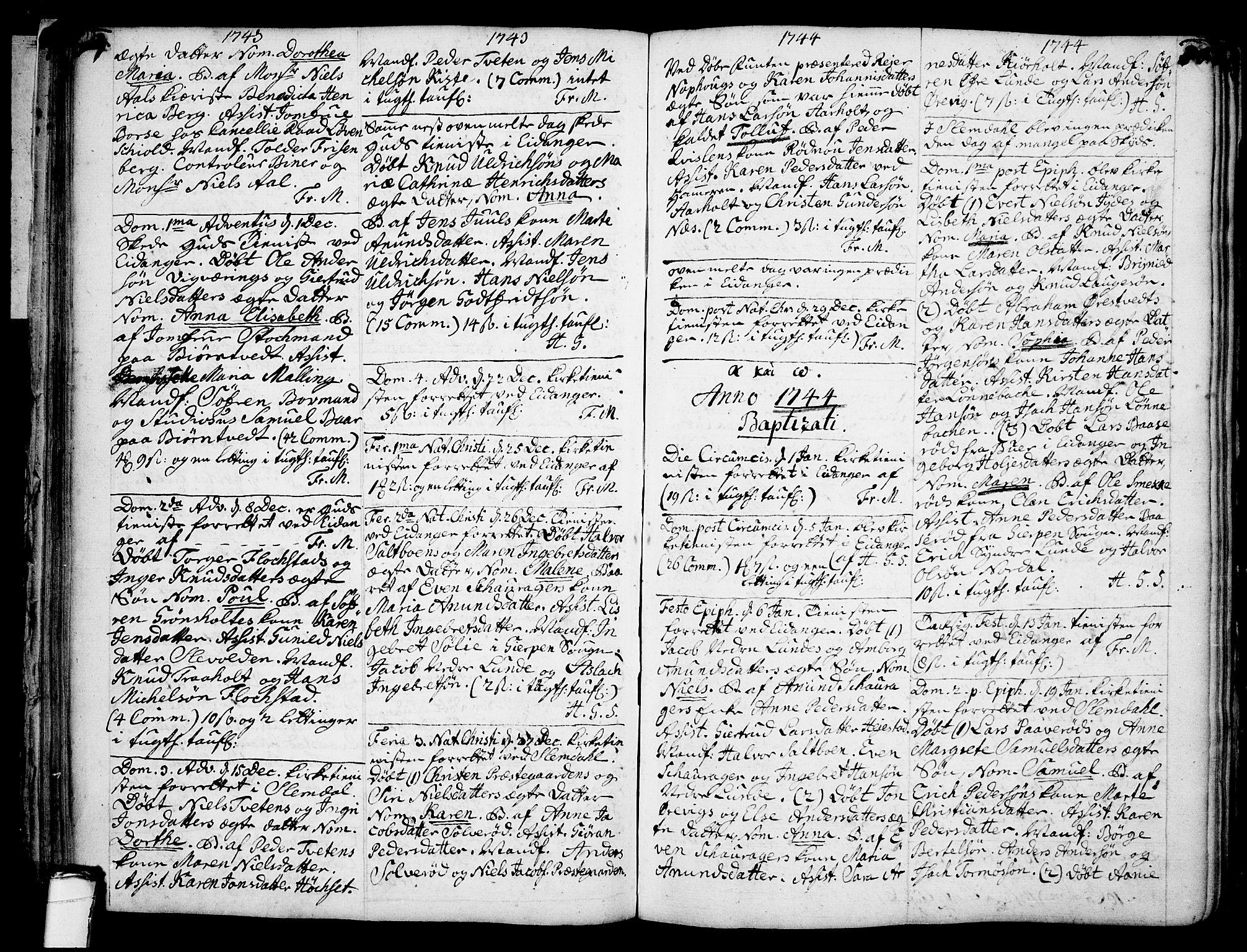 SAKO, Eidanger kirkebøker, F/Fa/L0004: Ministerialbok nr. 4, 1733-1759, s. 87-88