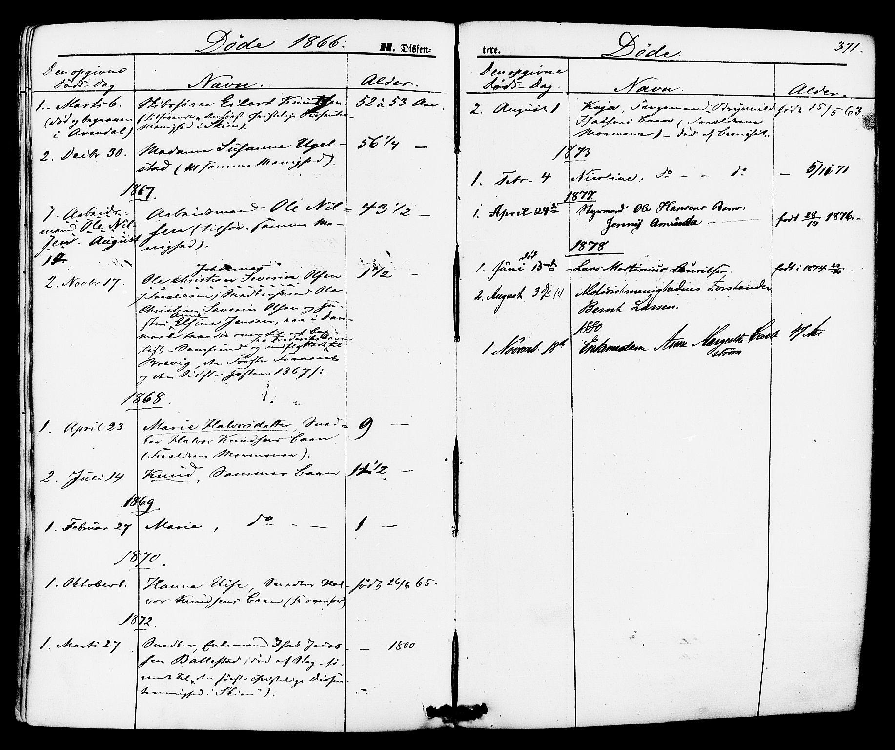 SAKO, Brevik kirkebøker, F/Fa/L0006: Ministerialbok nr. 6, 1866-1881, s. 371
