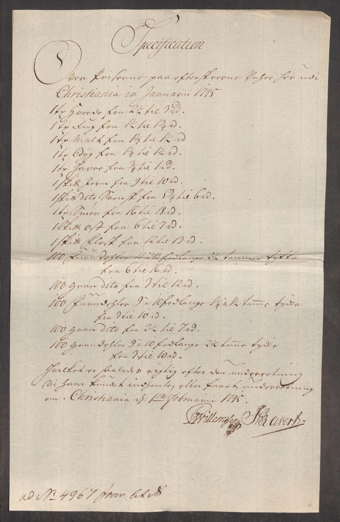 RA, Rentekammeret inntil 1814, Realistisk ordnet avdeling, Oe/L0003: [Ø1]: Priskuranter, 1745-1748, s. 41