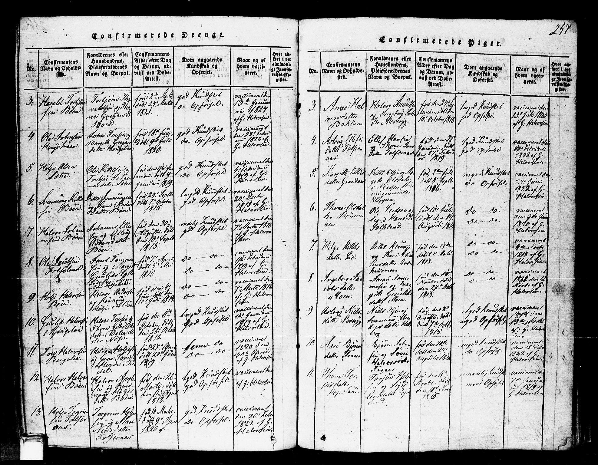 SAKO, Gransherad kirkebøker, F/Fa/L0001: Ministerialbok nr. I 1, 1815-1843, s. 257