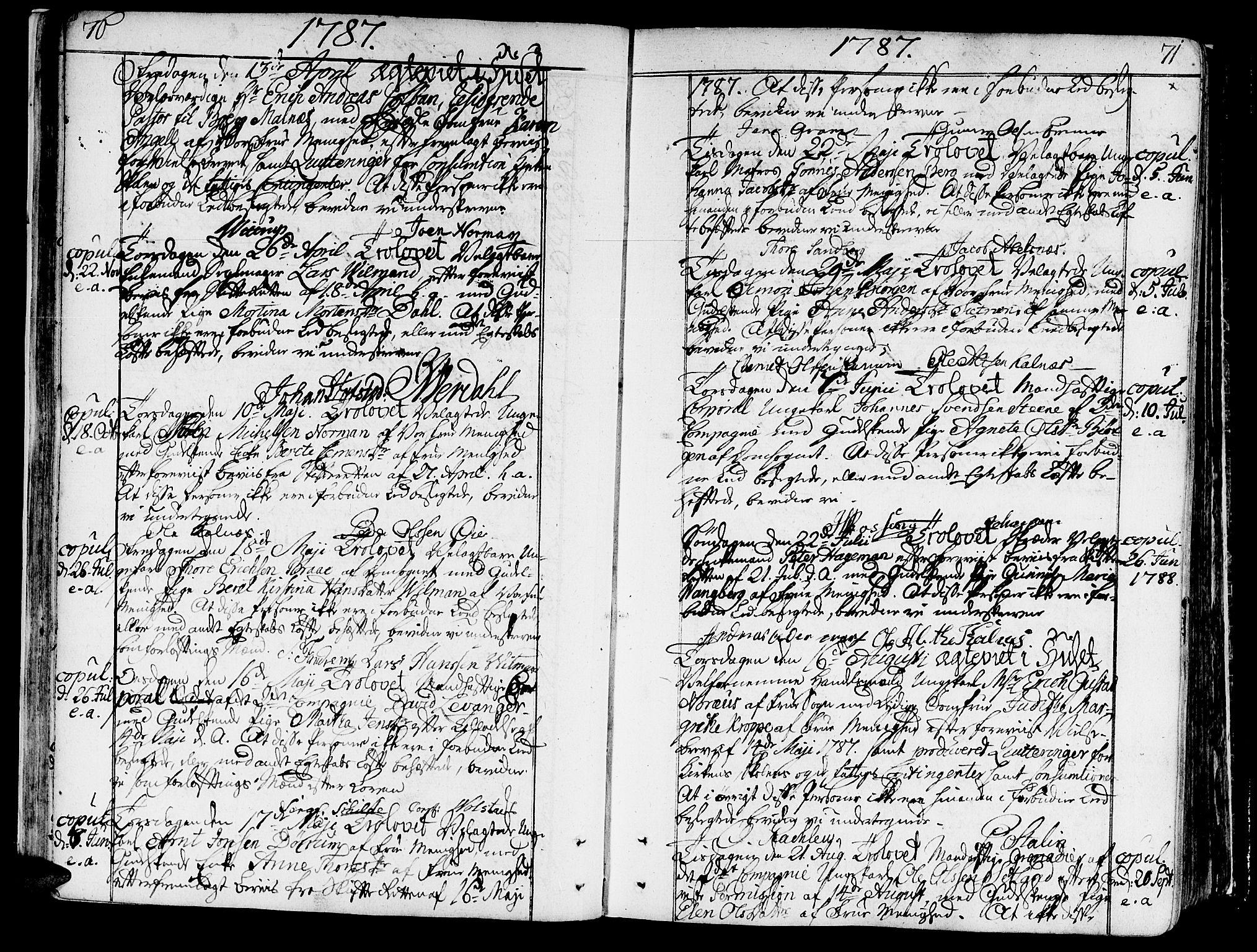 SAT, Ministerialprotokoller, klokkerbøker og fødselsregistre - Sør-Trøndelag, 602/L0105: Ministerialbok nr. 602A03, 1774-1814, s. 70-71