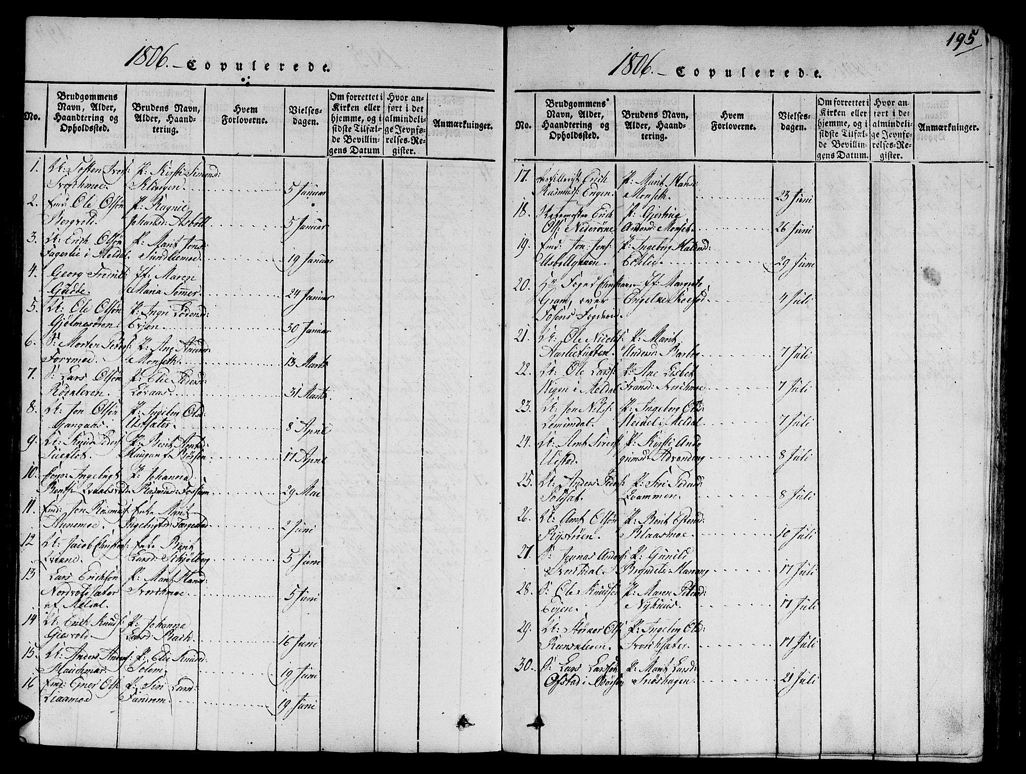 SAT, Ministerialprotokoller, klokkerbøker og fødselsregistre - Sør-Trøndelag, 668/L0803: Ministerialbok nr. 668A03, 1800-1826, s. 195