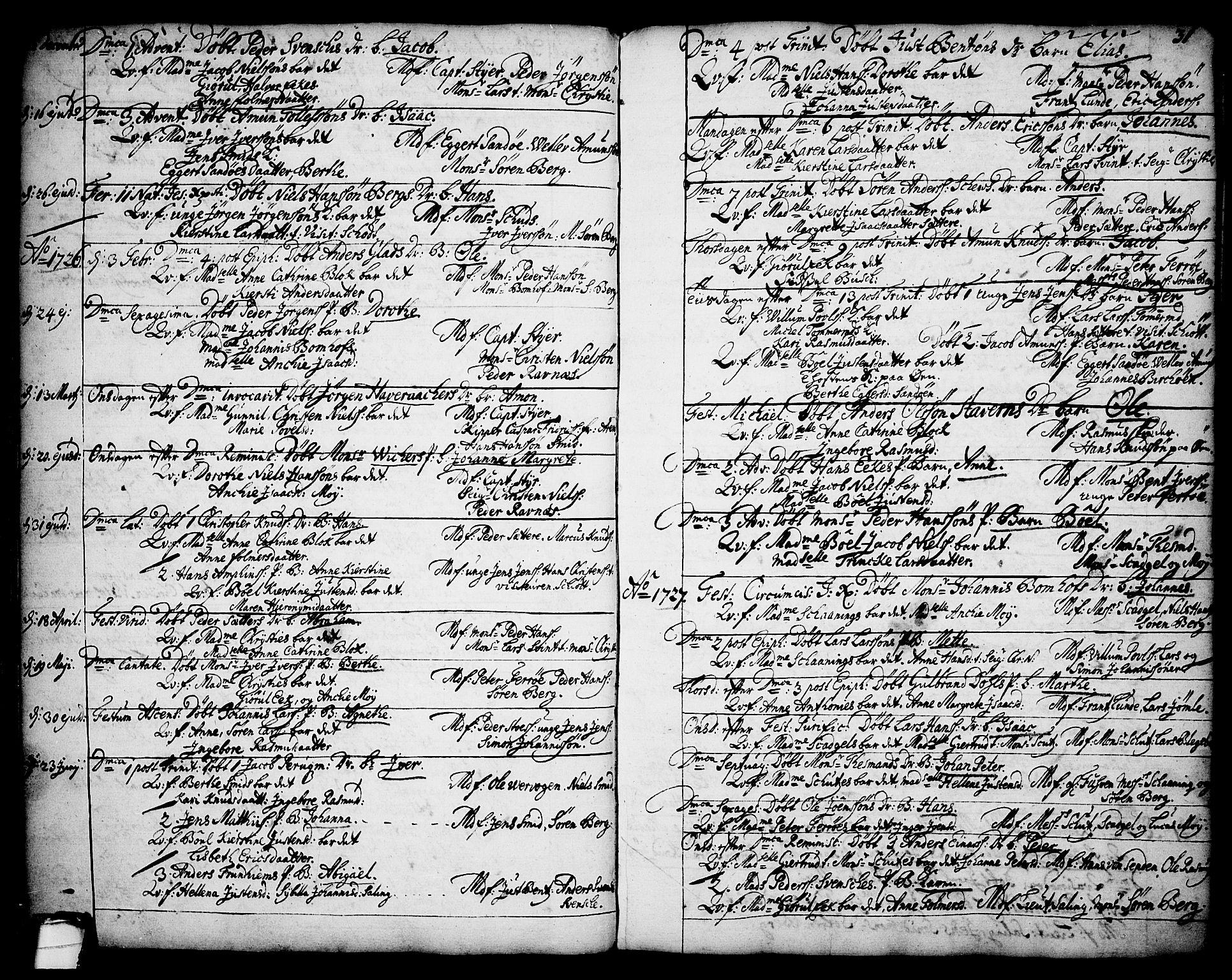 SAKO, Brevik kirkebøker, F/Fa/L0002: Ministerialbok nr. 2, 1720-1764, s. 31