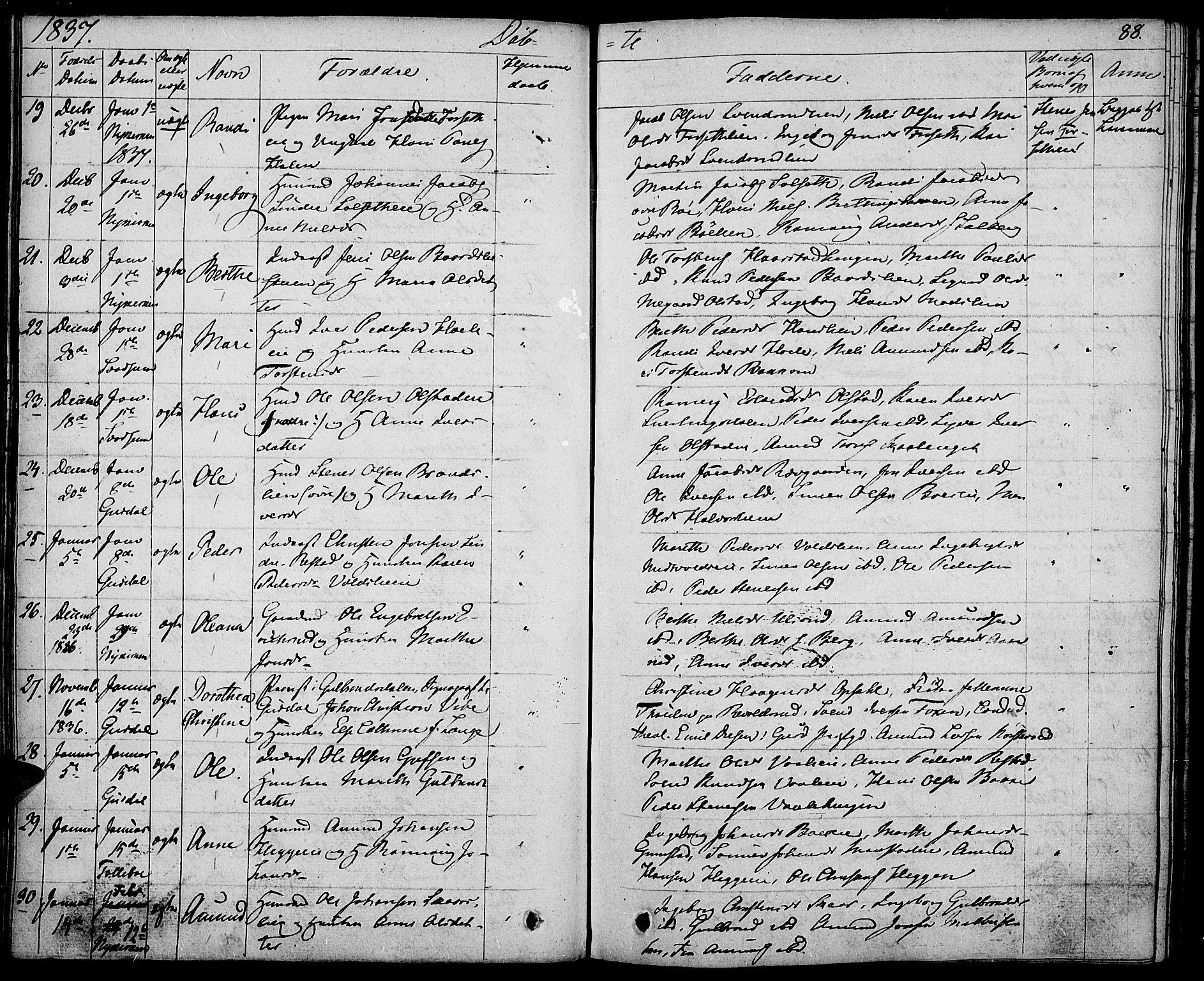 SAH, Gausdal prestekontor, Ministerialbok nr. 6, 1830-1839, s. 88