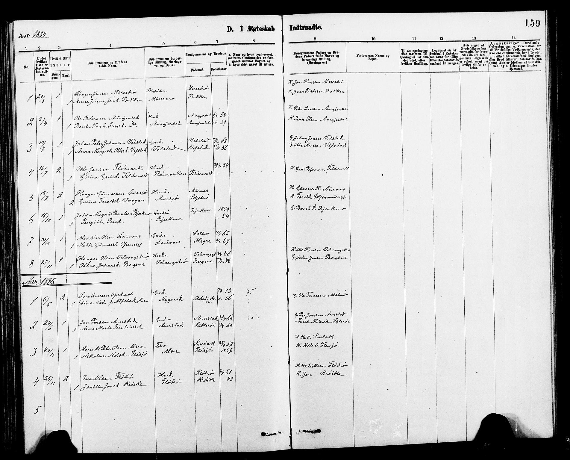SAT, Ministerialprotokoller, klokkerbøker og fødselsregistre - Nord-Trøndelag, 712/L0103: Klokkerbok nr. 712C01, 1878-1917, s. 159