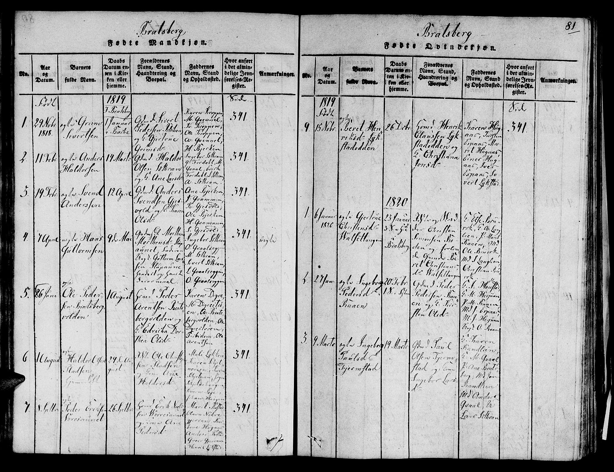 SAT, Ministerialprotokoller, klokkerbøker og fødselsregistre - Sør-Trøndelag, 606/L0285: Ministerialbok nr. 606A03 /3, 1819-1823, s. 81