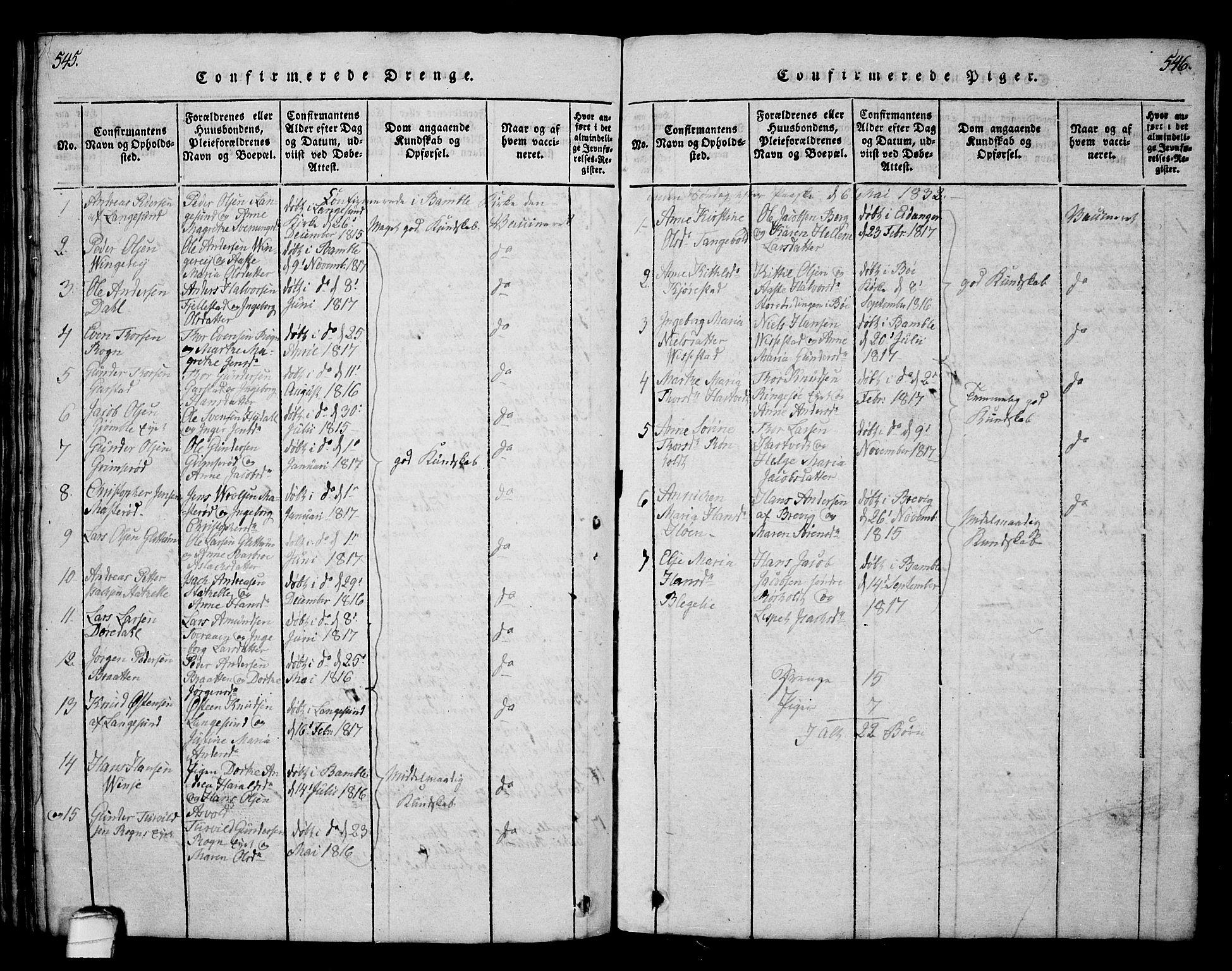SAKO, Bamble kirkebøker, G/Ga/L0005: Klokkerbok nr. I 5, 1814-1855, s. 545-546