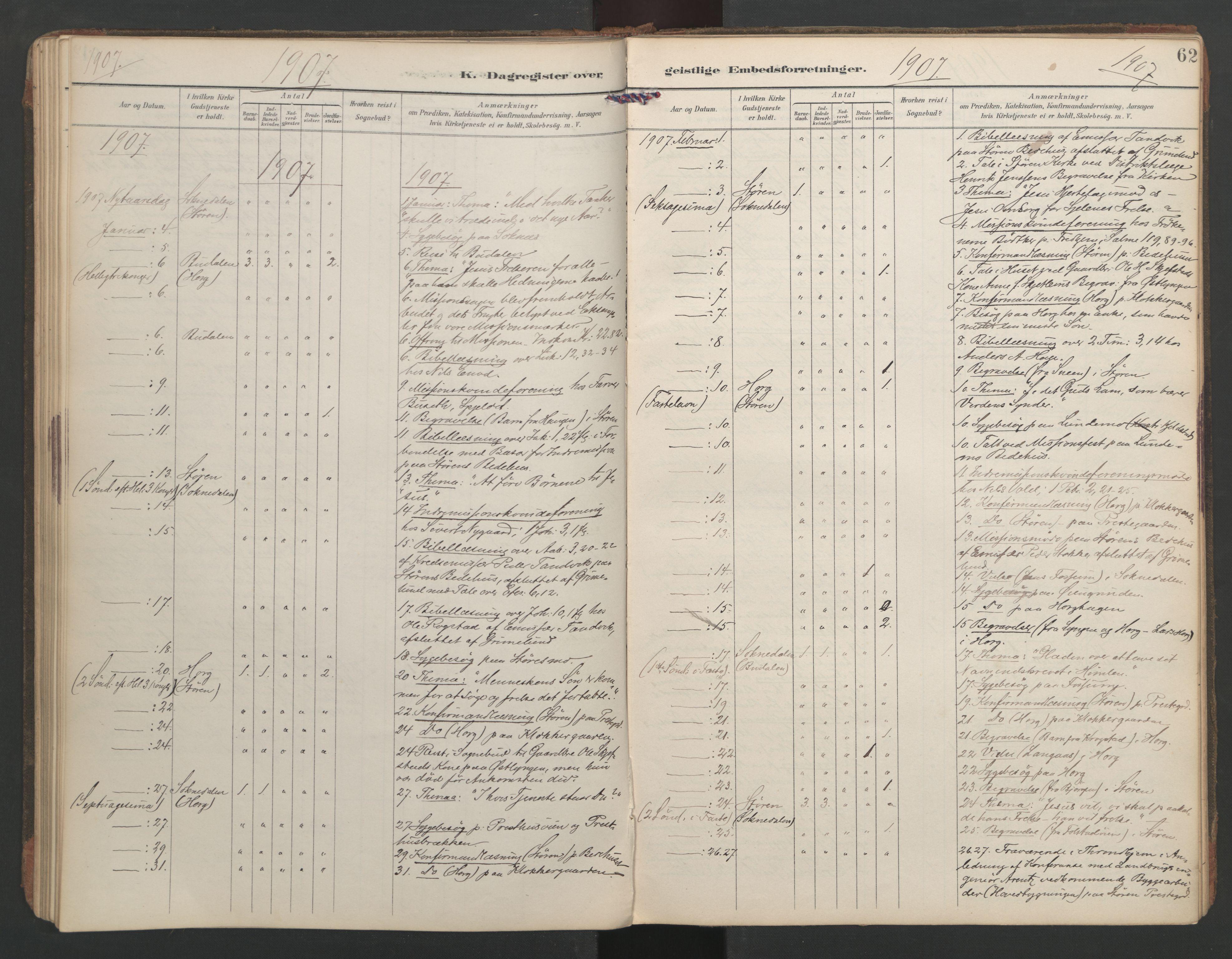 SAT, Ministerialprotokoller, klokkerbøker og fødselsregistre - Sør-Trøndelag, 687/L1005: Dagregister nr. 687A11, 1891-1912, s. 62