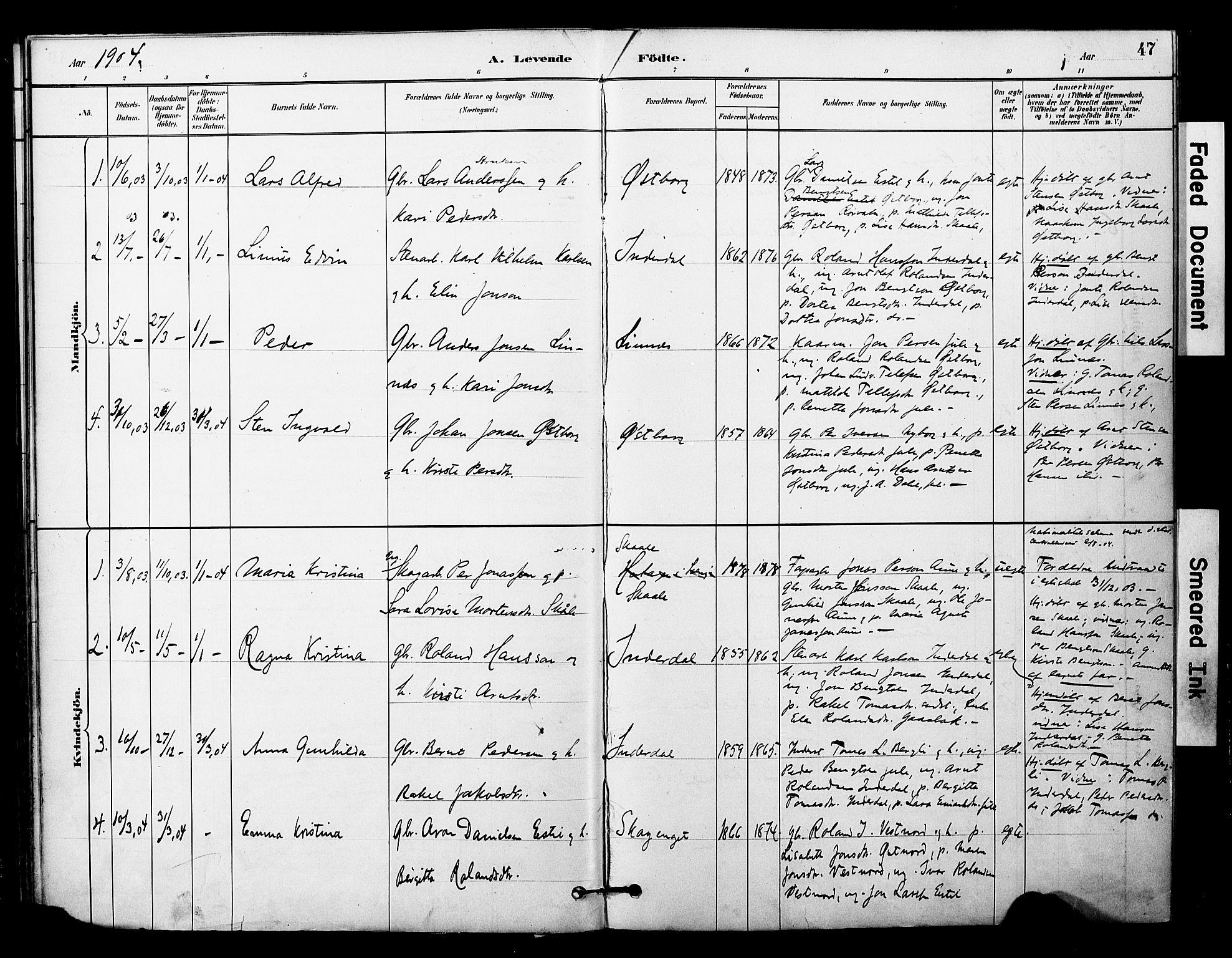 SAT, Ministerialprotokoller, klokkerbøker og fødselsregistre - Nord-Trøndelag, 757/L0505: Ministerialbok nr. 757A01, 1882-1904, s. 47