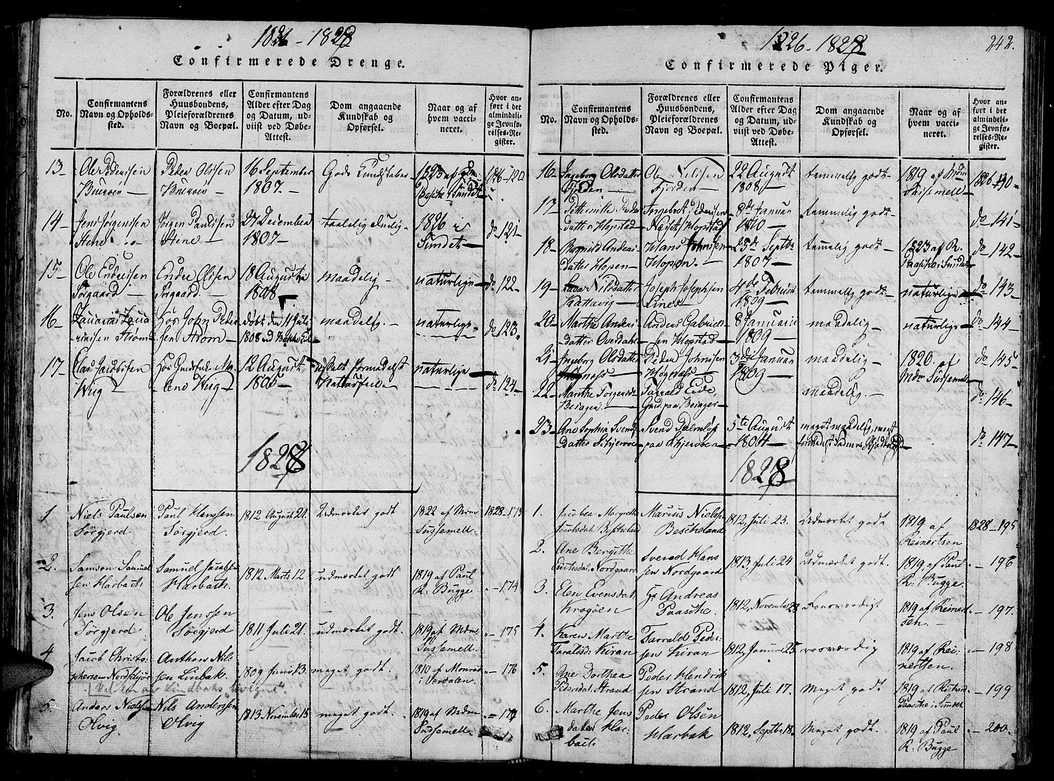 SAT, Ministerialprotokoller, klokkerbøker og fødselsregistre - Sør-Trøndelag, 657/L0702: Ministerialbok nr. 657A03, 1818-1831, s. 242
