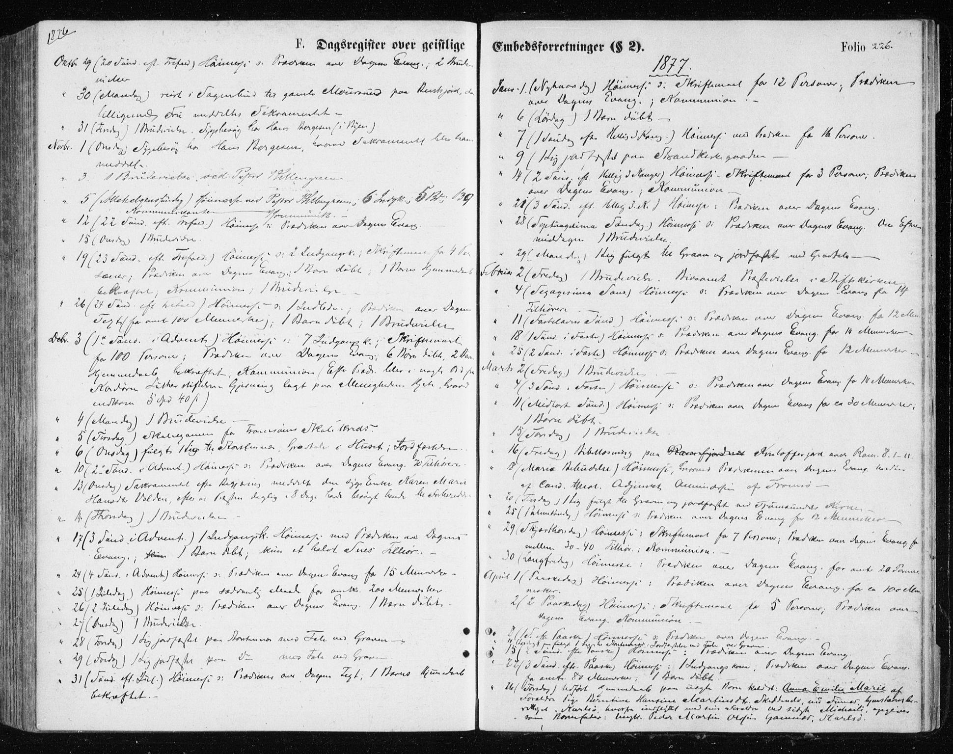 SATØ, Tromsøysund sokneprestkontor, G/Ga/L0003kirke: Ministerialbok nr. 3, 1875-1880, s. 226