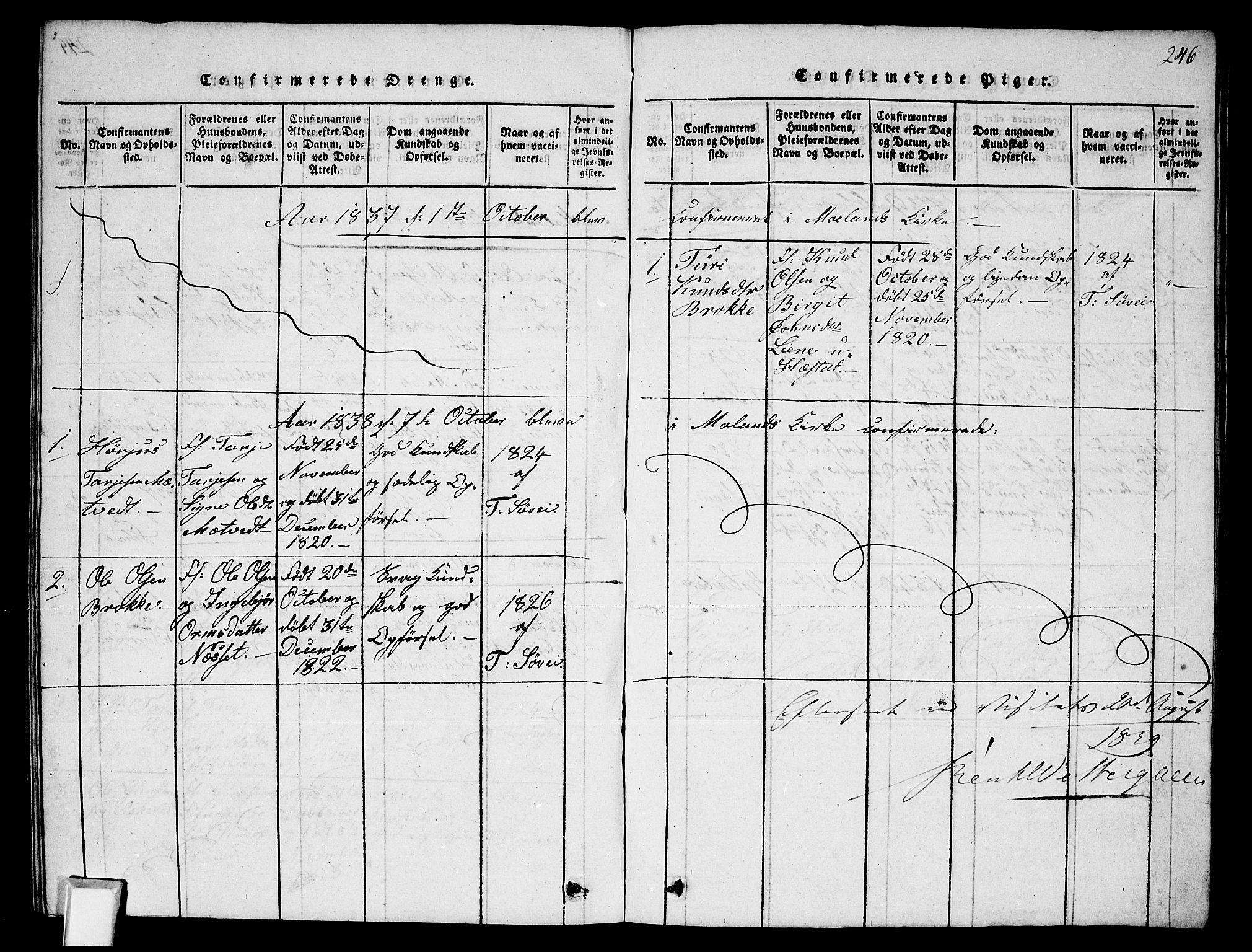 SAKO, Fyresdal kirkebøker, G/Ga/L0002: Klokkerbok nr. I 2, 1815-1857, s. 246