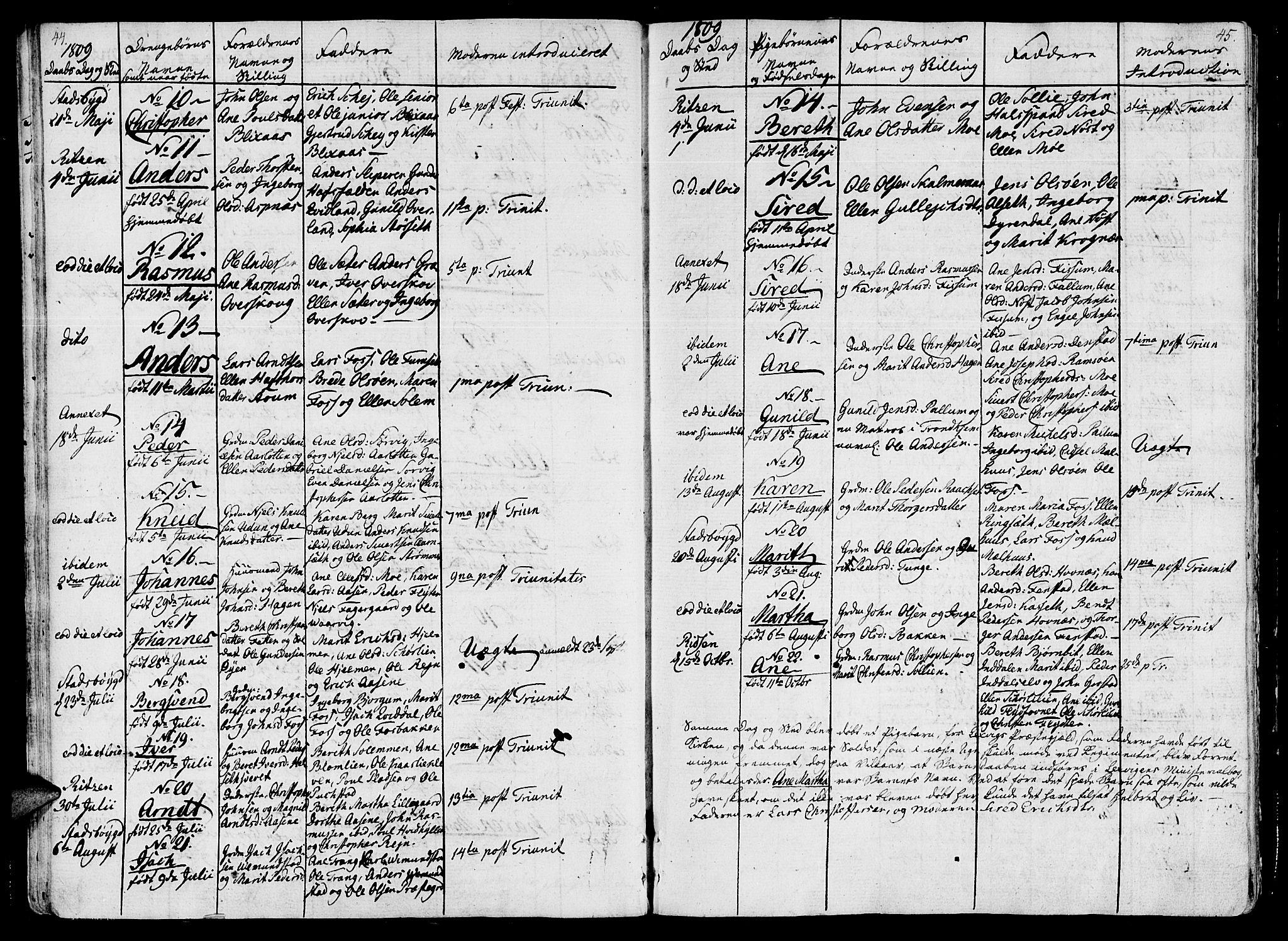 SAT, Ministerialprotokoller, klokkerbøker og fødselsregistre - Sør-Trøndelag, 646/L0607: Ministerialbok nr. 646A05, 1806-1815, s. 44-45