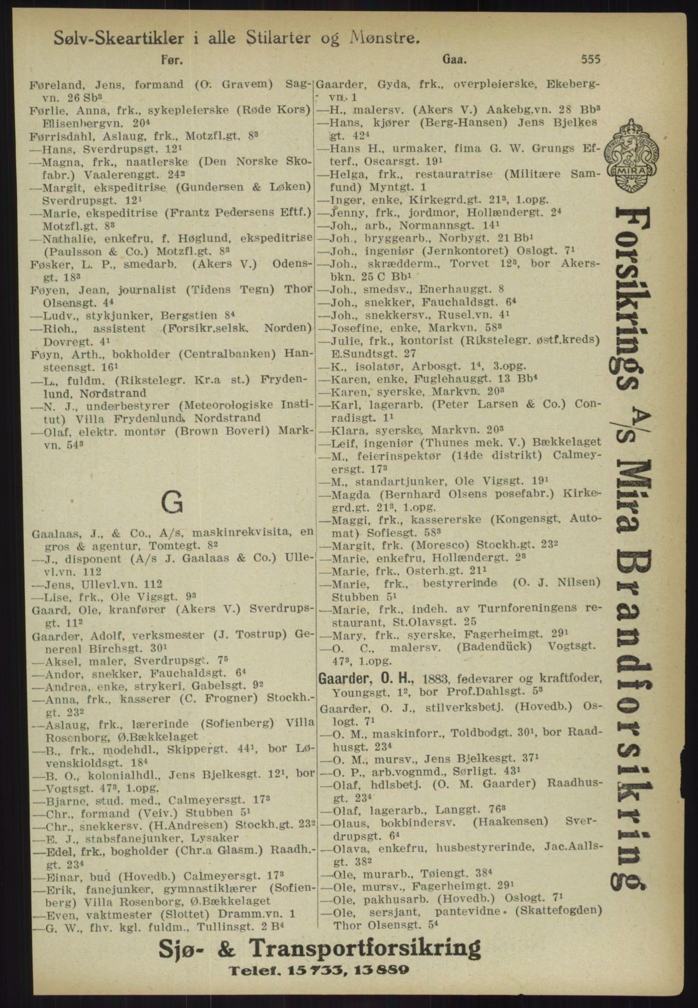 RA, Kristiania adressebok (publikasjon)*, 1918, s. 555