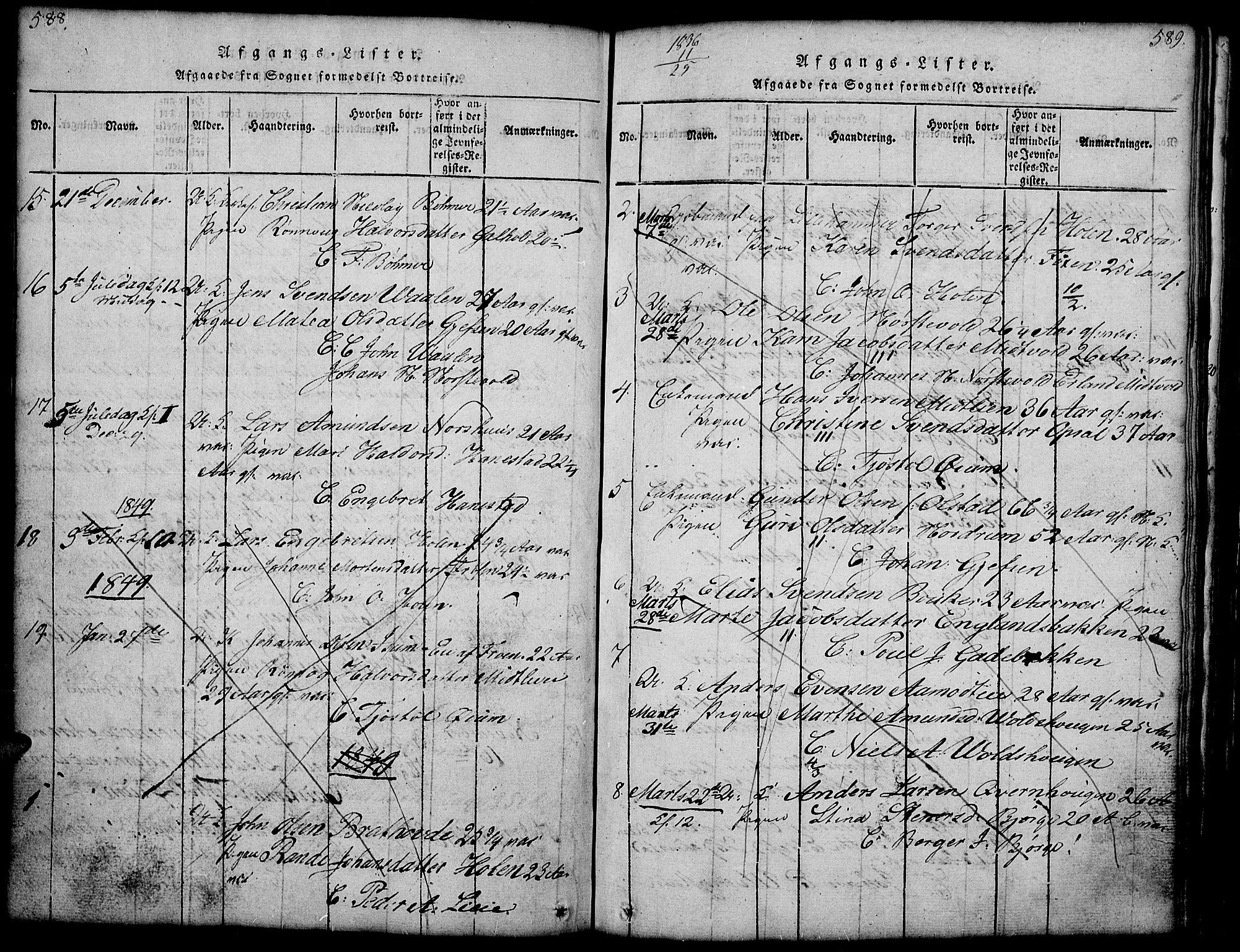 SAH, Gausdal prestekontor, Klokkerbok nr. 1, 1817-1848, s. 588-589