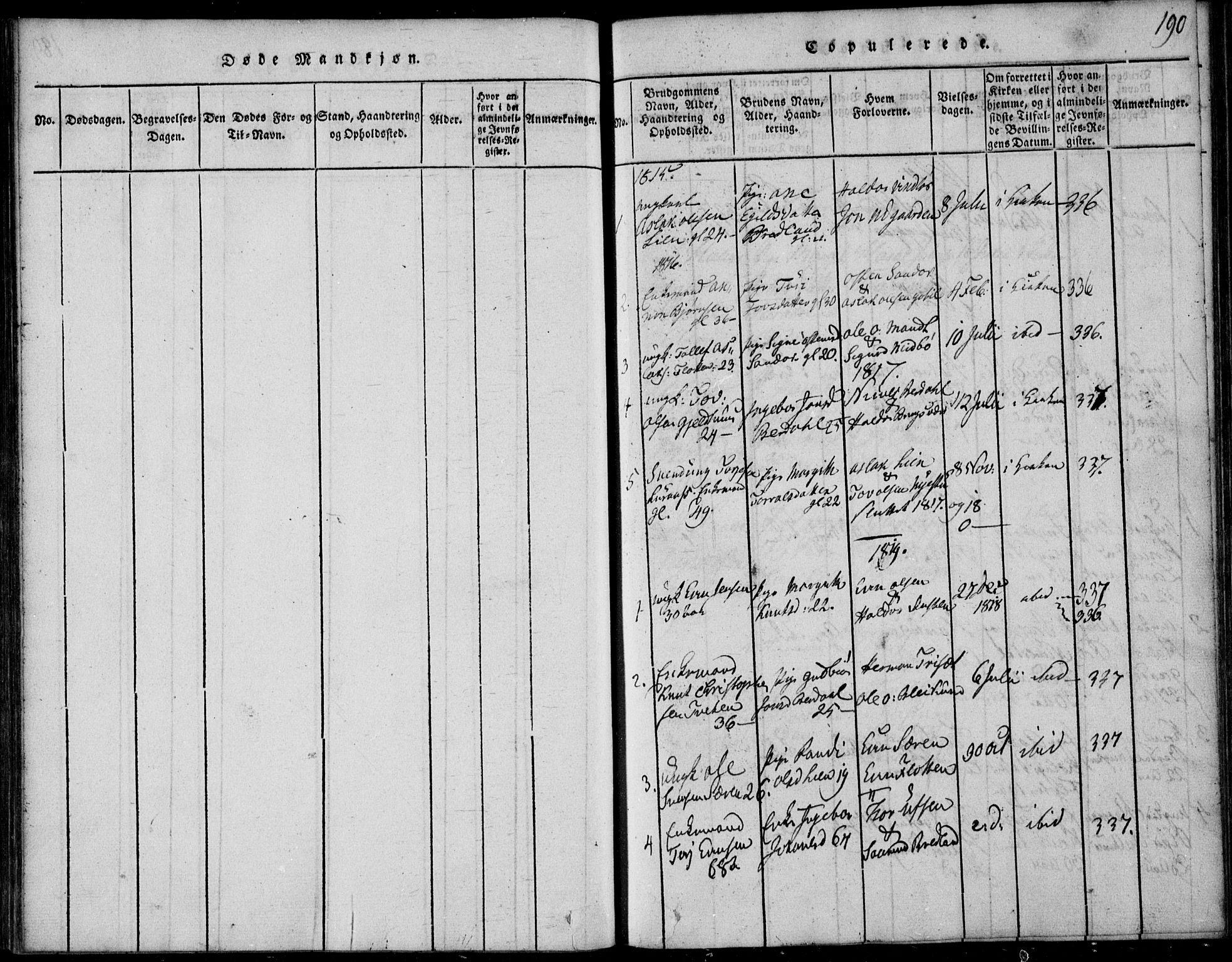 SAKO, Vinje kirkebøker, F/Fb/L0001: Ministerialbok nr. II 1, 1814-1843, s. 190