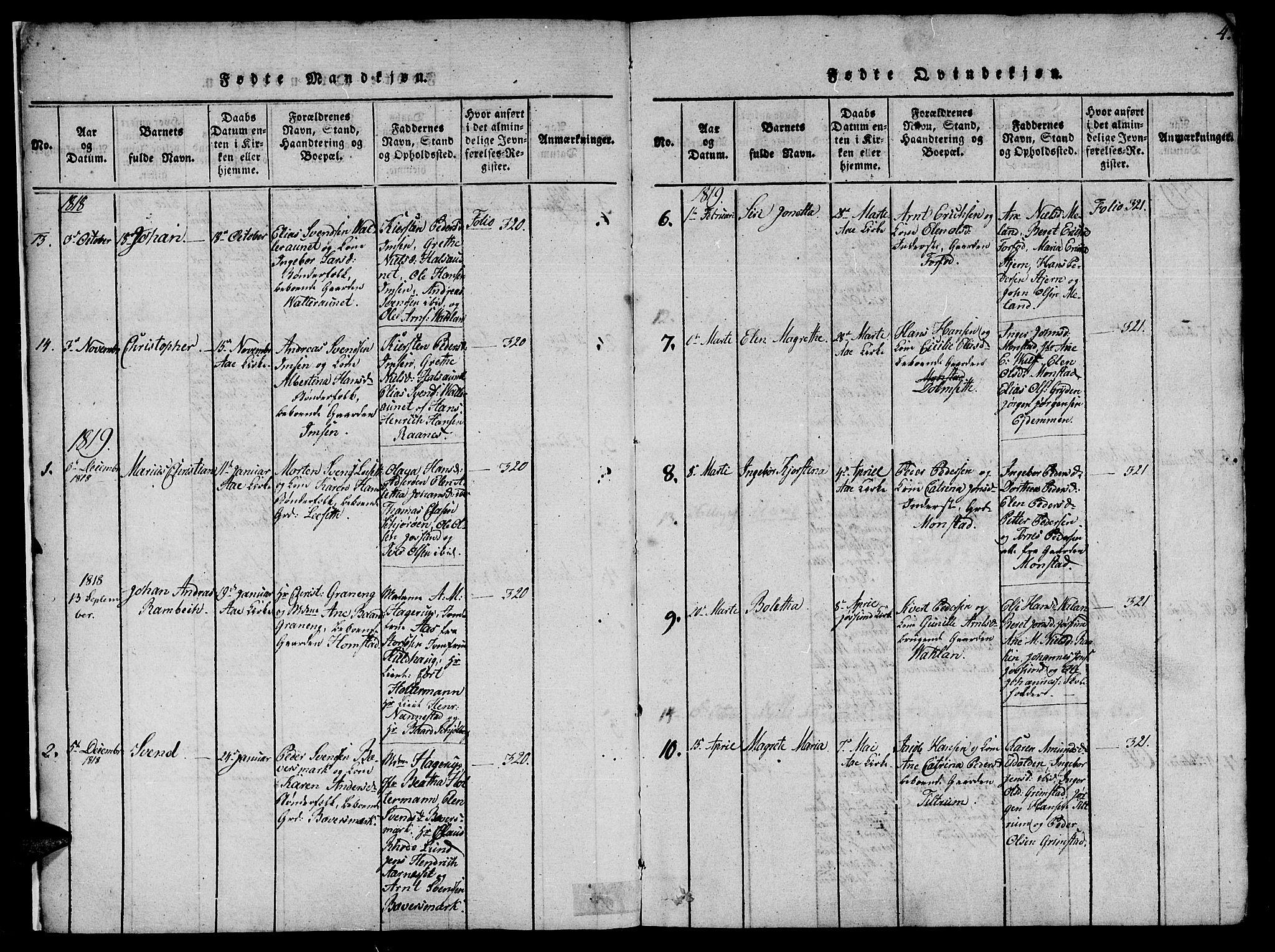 SAT, Ministerialprotokoller, klokkerbøker og fødselsregistre - Sør-Trøndelag, 655/L0675: Ministerialbok nr. 655A04, 1818-1830, s. 4