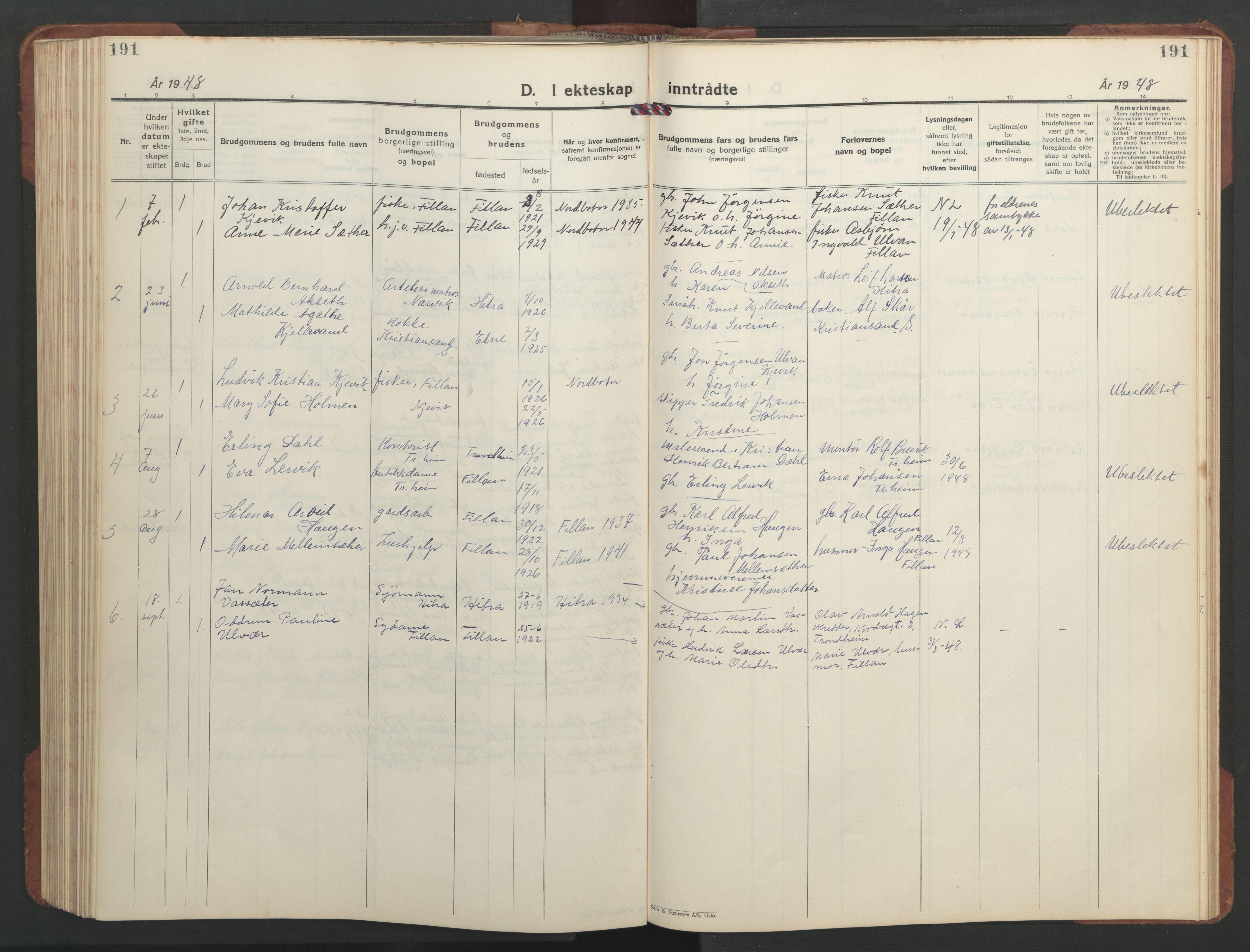 SAT, Ministerialprotokoller, klokkerbøker og fødselsregistre - Sør-Trøndelag, 637/L0564: Klokkerbok nr. 637C05, 1928-1968, s. 191
