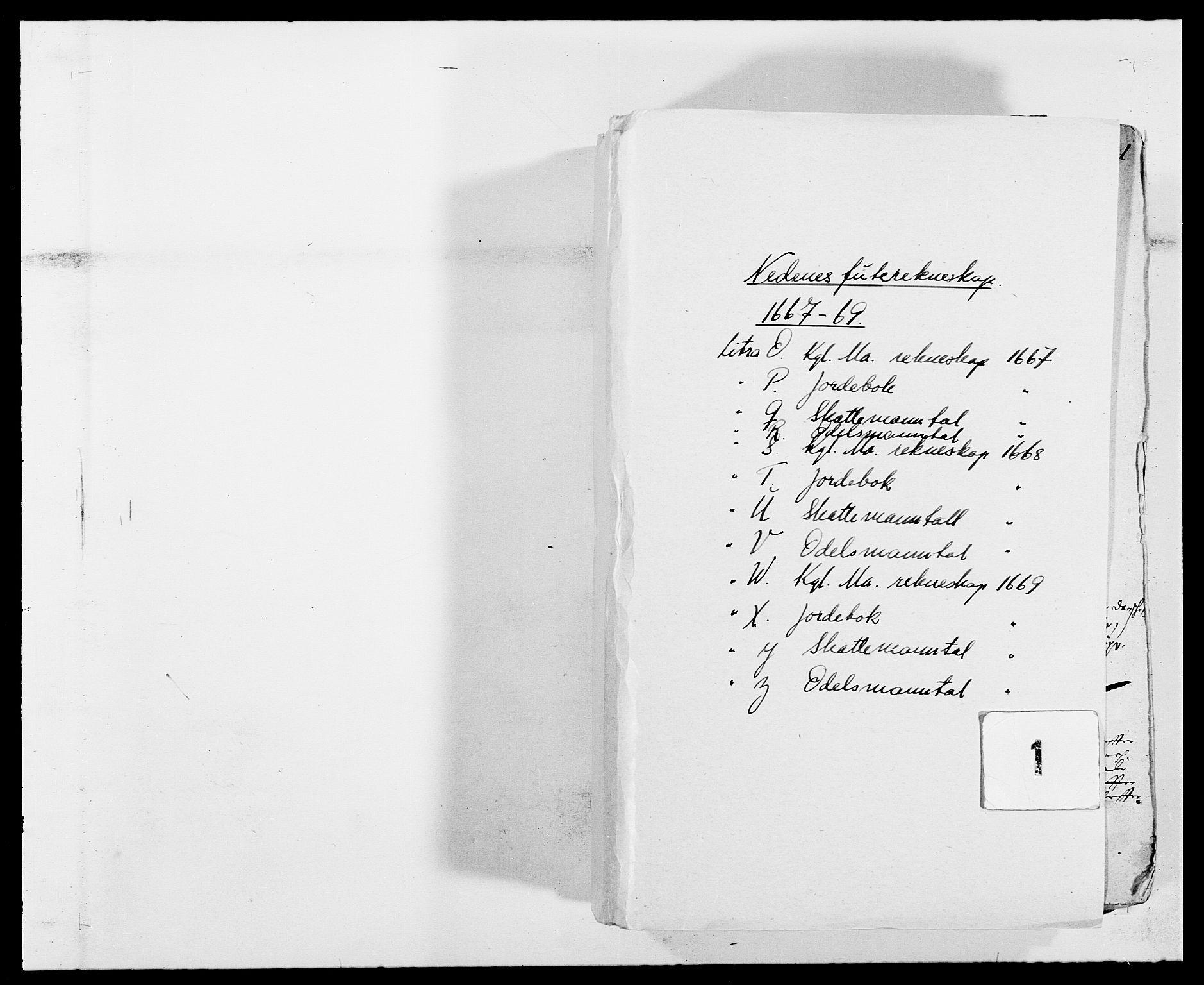RA, Rentekammeret inntil 1814, Reviderte regnskaper, Fogderegnskap, R39/L2297: Fogderegnskap Nedenes, 1667-1669, s. 1