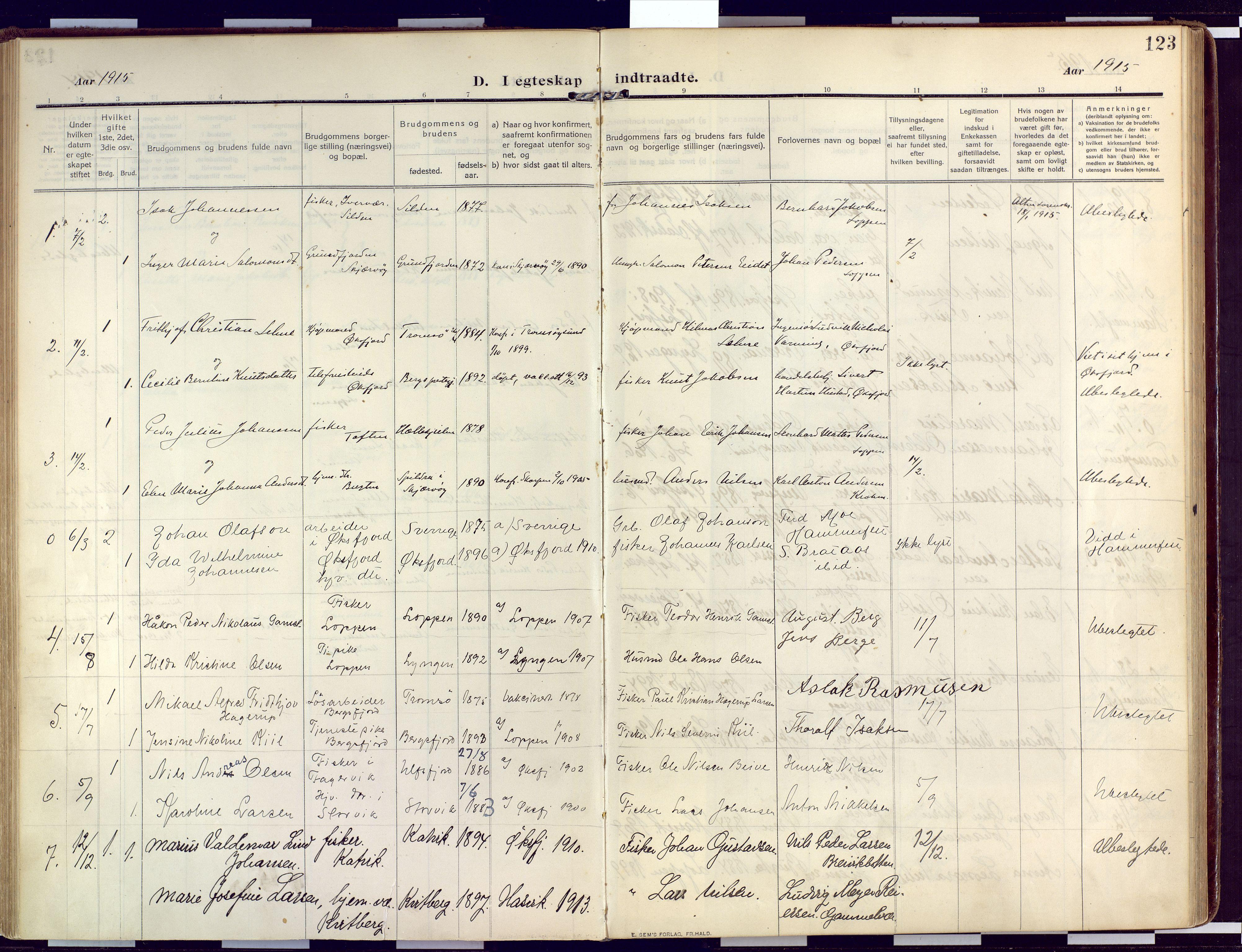 SATØ, Loppa sokneprestkontor, H/Ha/L0011kirke: Ministerialbok nr. 11, 1909-1919, s. 123