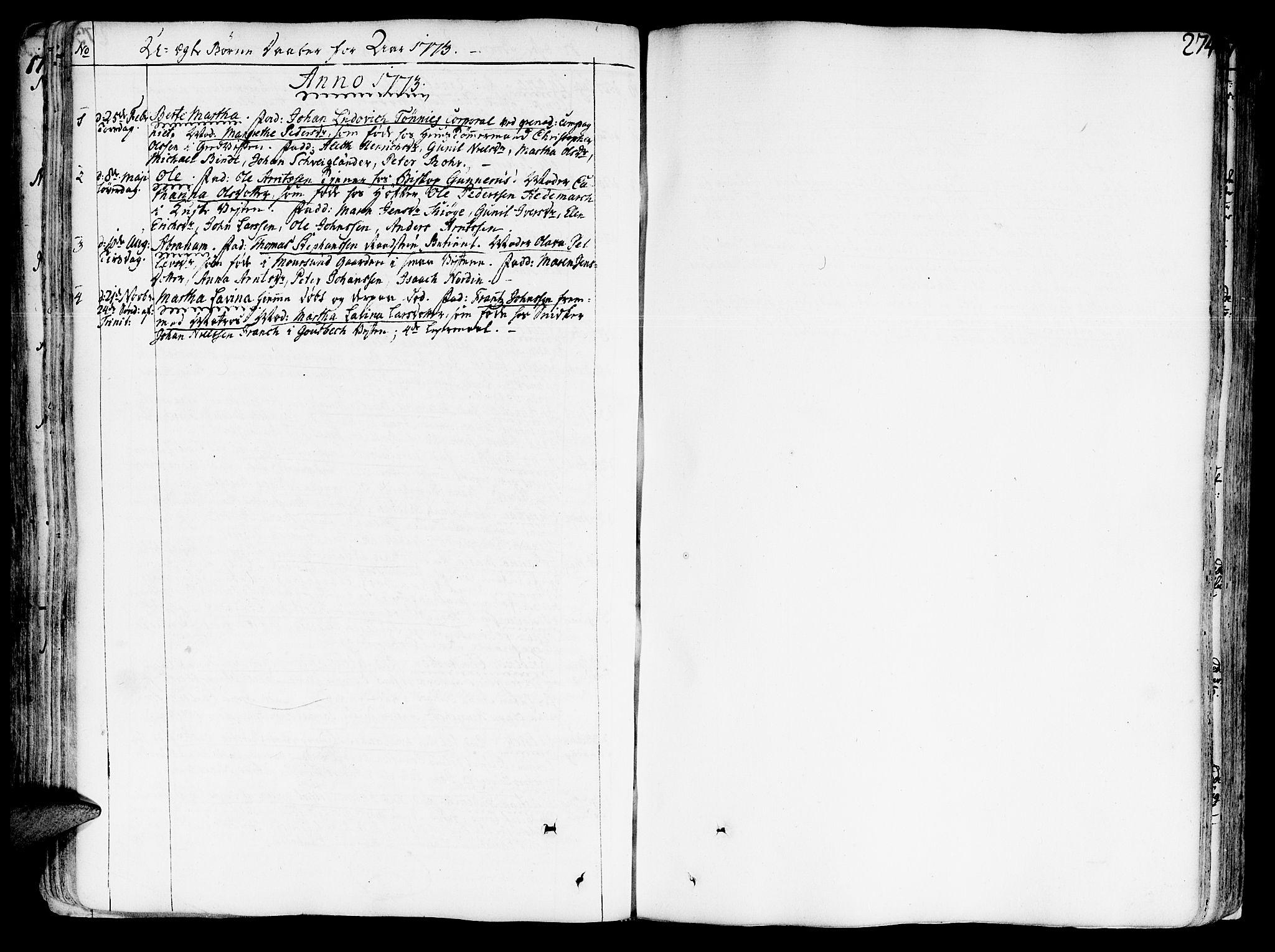 SAT, Ministerialprotokoller, klokkerbøker og fødselsregistre - Sør-Trøndelag, 602/L0103: Ministerialbok nr. 602A01, 1732-1774, s. 274