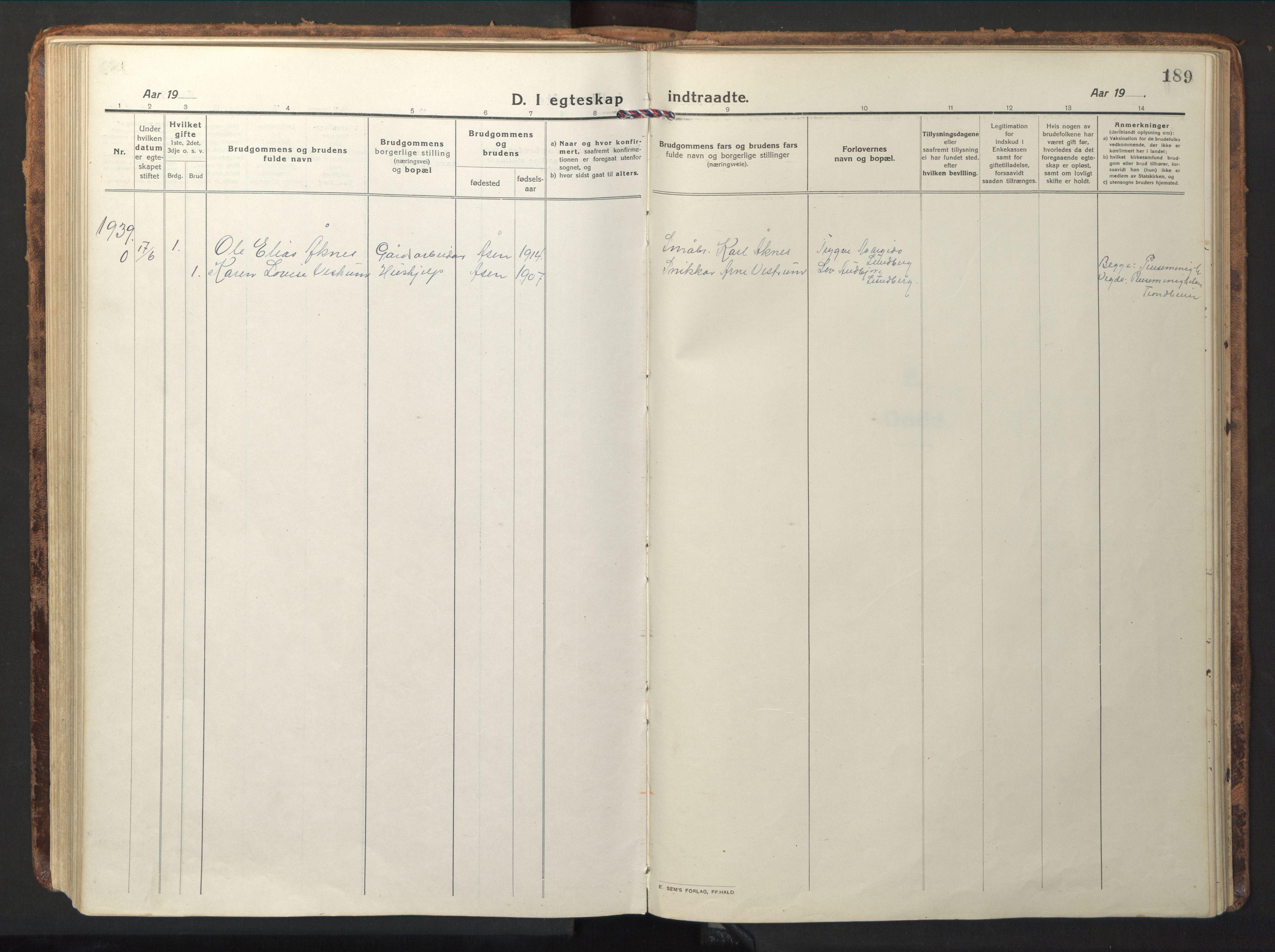 SAT, Ministerialprotokoller, klokkerbøker og fødselsregistre - Nord-Trøndelag, 714/L0136: Klokkerbok nr. 714C05, 1918-1957, s. 189