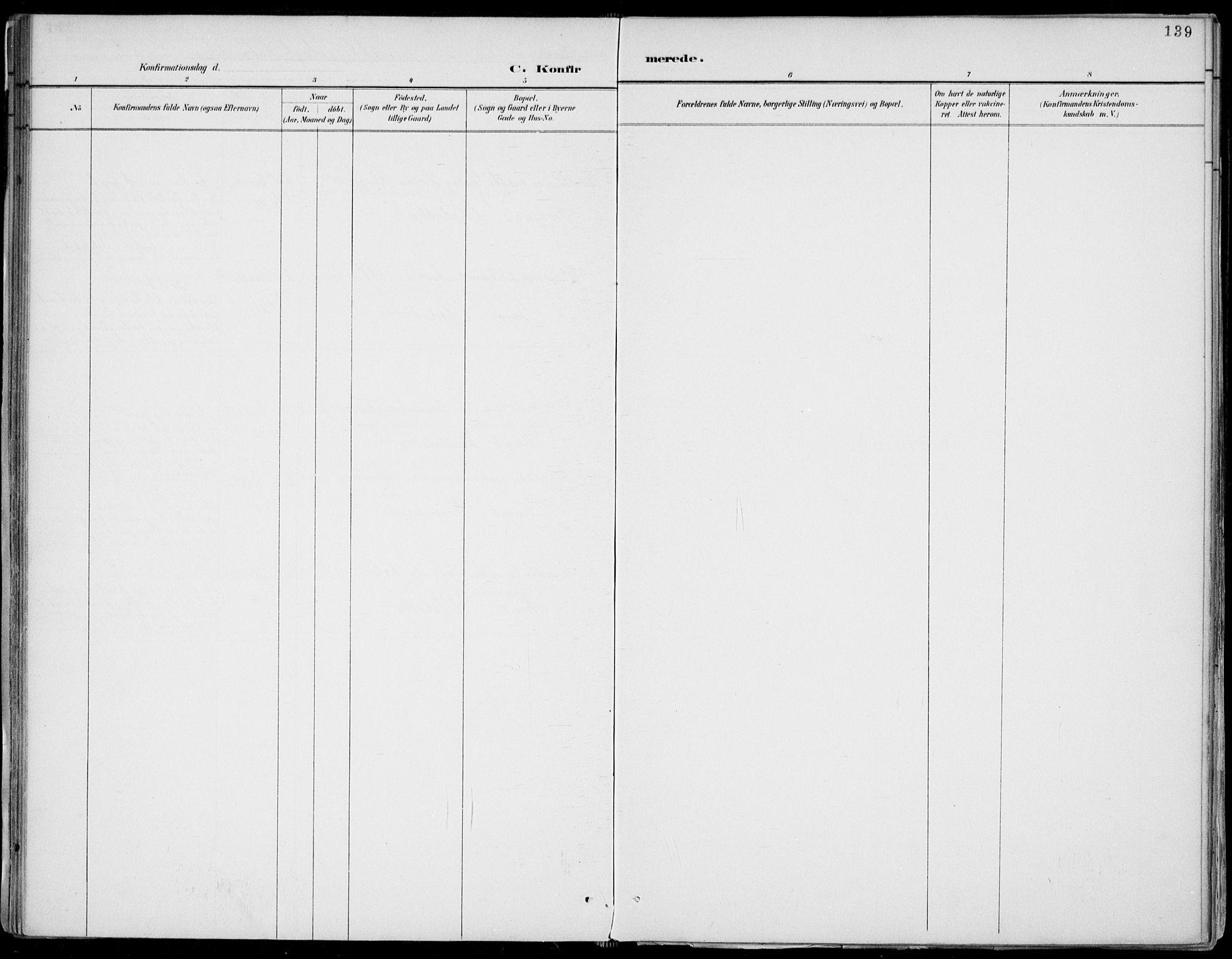 SAKO, Fyresdal kirkebøker, F/Fa/L0007: Ministerialbok nr. I 7, 1887-1914, s. 139
