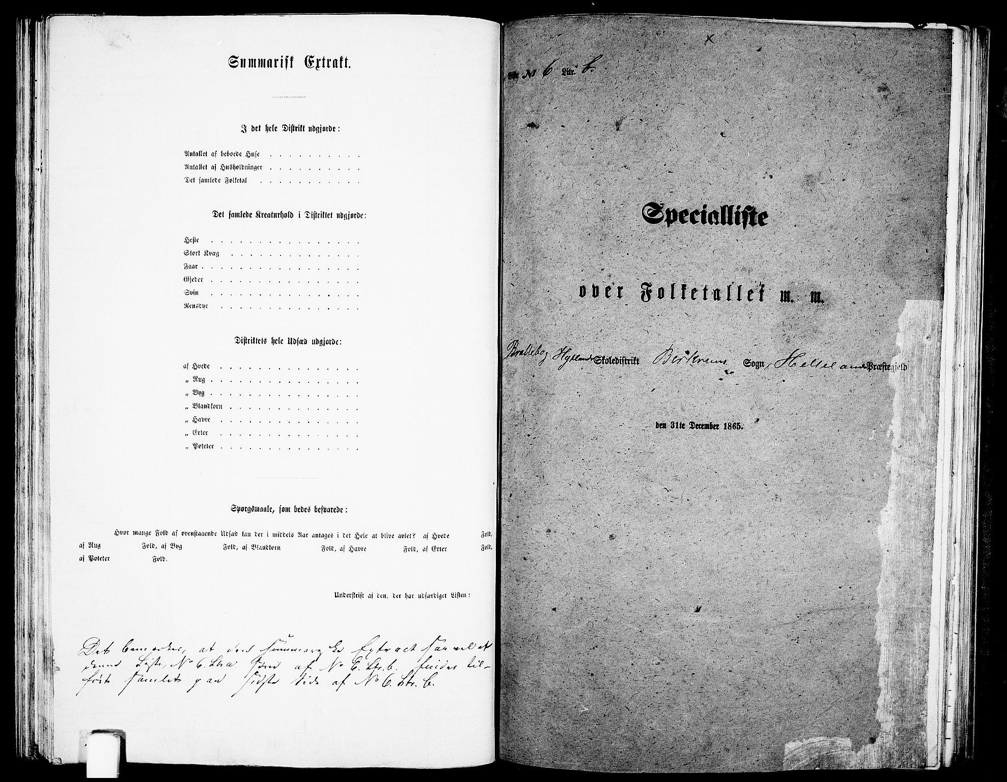 RA, Folketelling 1865 for 1115P Helleland prestegjeld, 1865, s. 92
