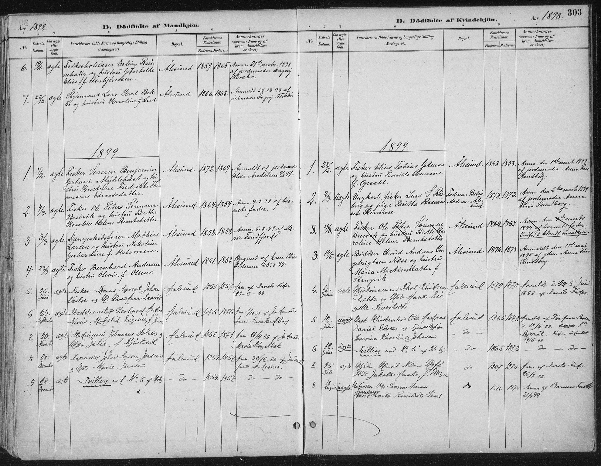 SAT, Ministerialprotokoller, klokkerbøker og fødselsregistre - Møre og Romsdal, 529/L0456: Ministerialbok nr. 529A06, 1894-1906, s. 303