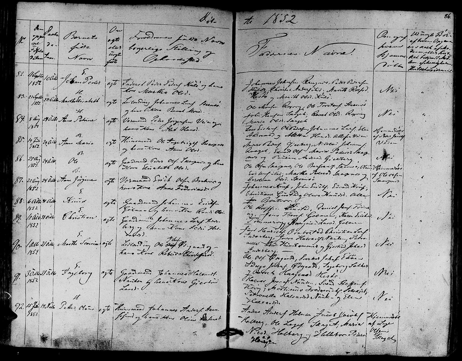 SAT, Ministerialprotokoller, klokkerbøker og fødselsregistre - Møre og Romsdal, 581/L0936: Ministerialbok nr. 581A04, 1836-1852, s. 86