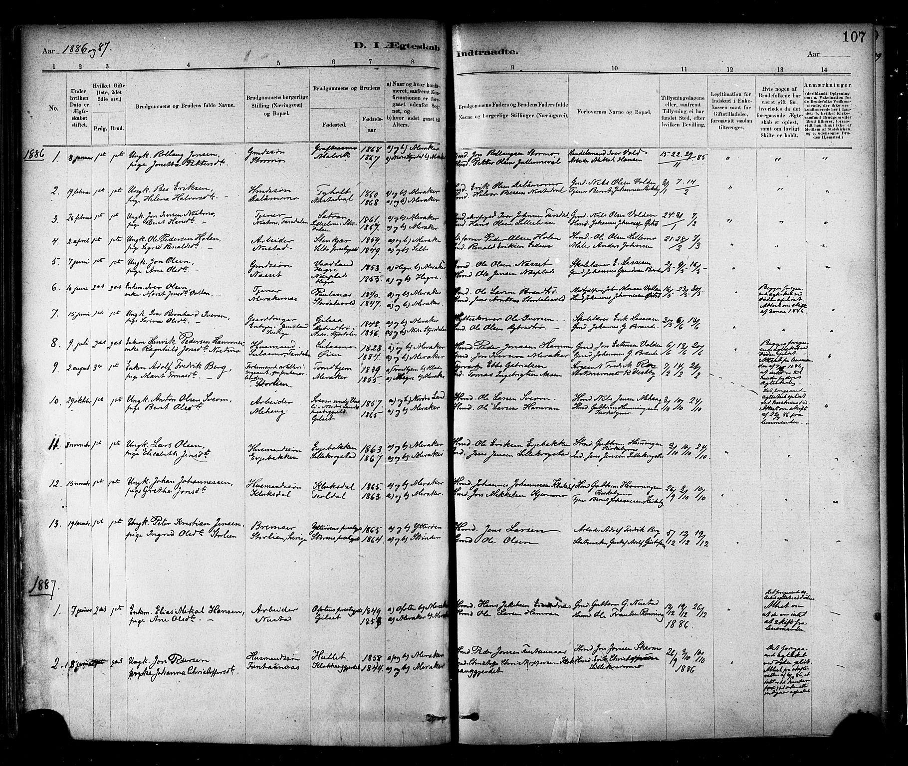 SAT, Ministerialprotokoller, klokkerbøker og fødselsregistre - Nord-Trøndelag, 706/L0047: Ministerialbok nr. 706A03, 1878-1892, s. 107