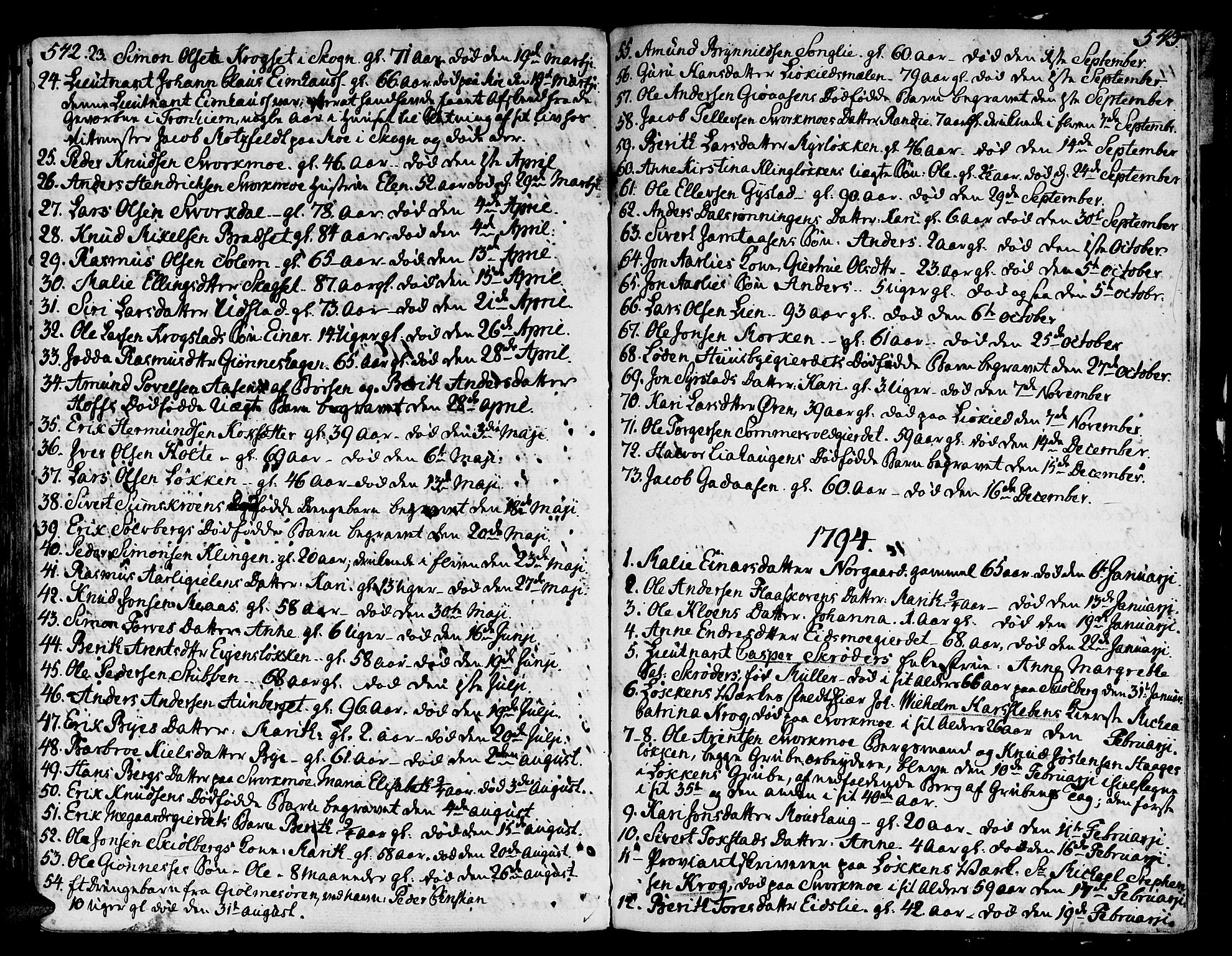 SAT, Ministerialprotokoller, klokkerbøker og fødselsregistre - Sør-Trøndelag, 668/L0802: Ministerialbok nr. 668A02, 1776-1799, s. 542-543