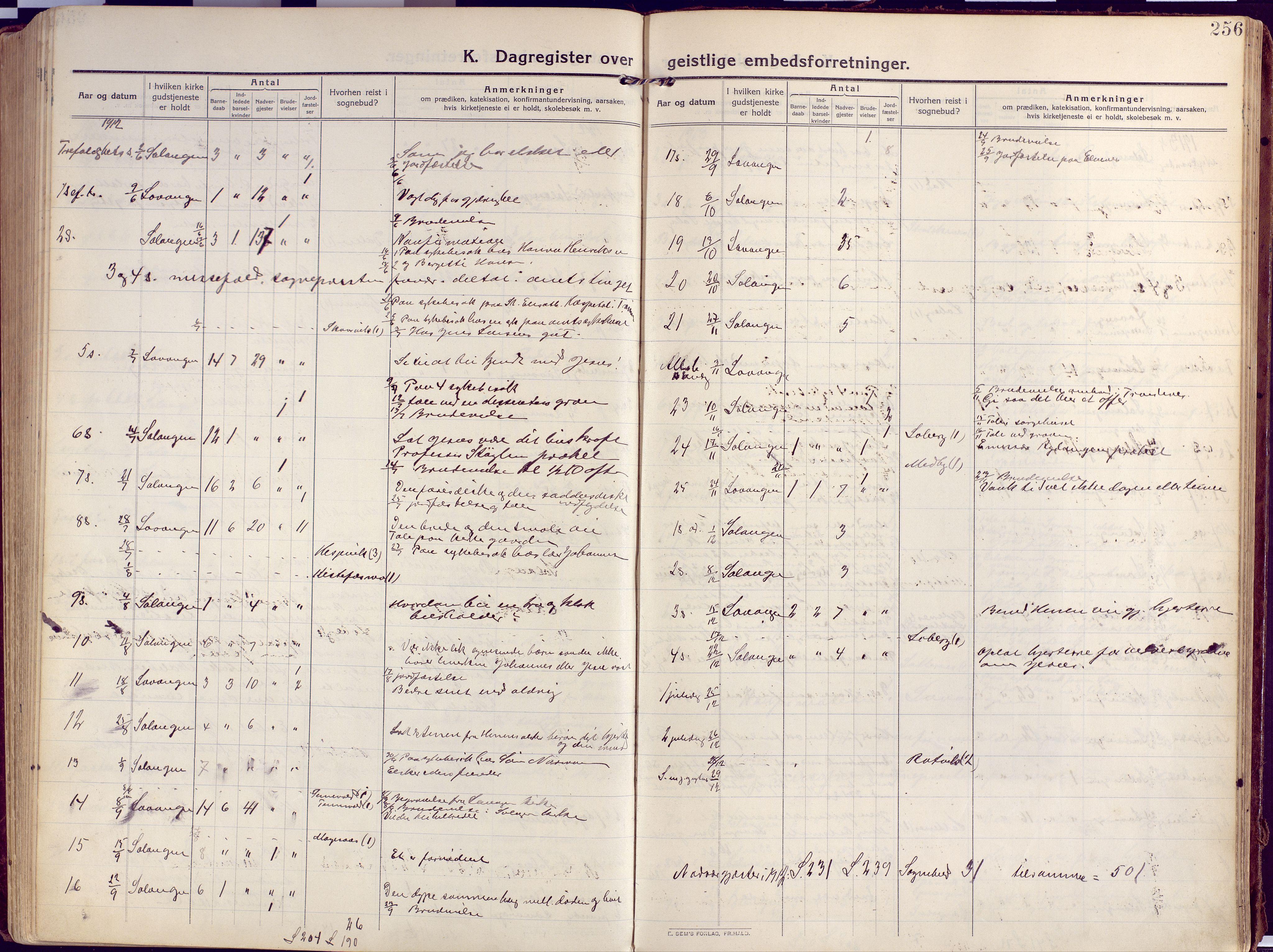 SATØ, Salangen sokneprestembete, H/Ha/L0004kirke: Ministerialbok nr. 4, 1912-1927, s. 256