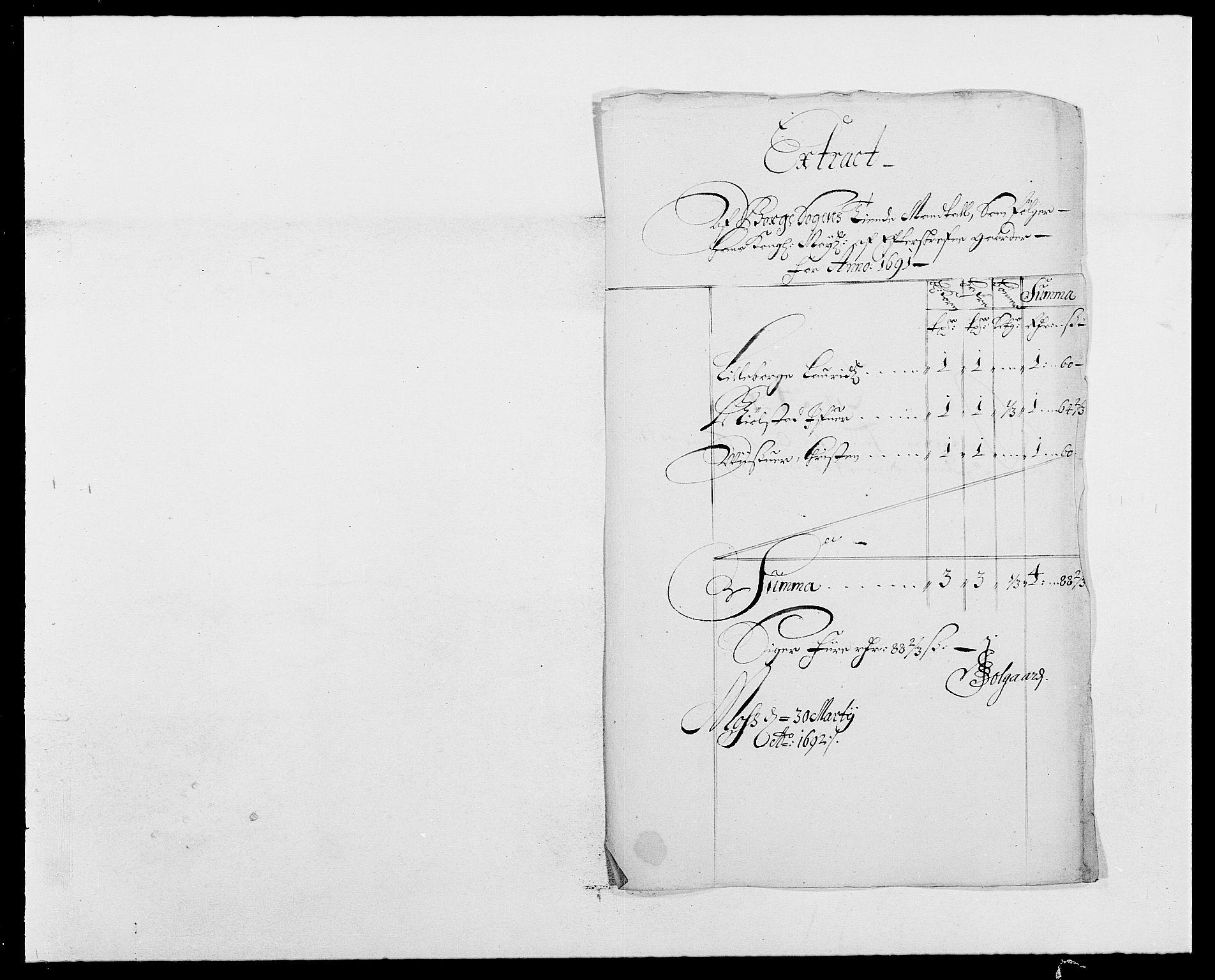 RA, Rentekammeret inntil 1814, Reviderte regnskaper, Fogderegnskap, R03/L0119: Fogderegnskap Onsøy, Tune, Veme og Åbygge fogderi, 1690-1691, s. 282