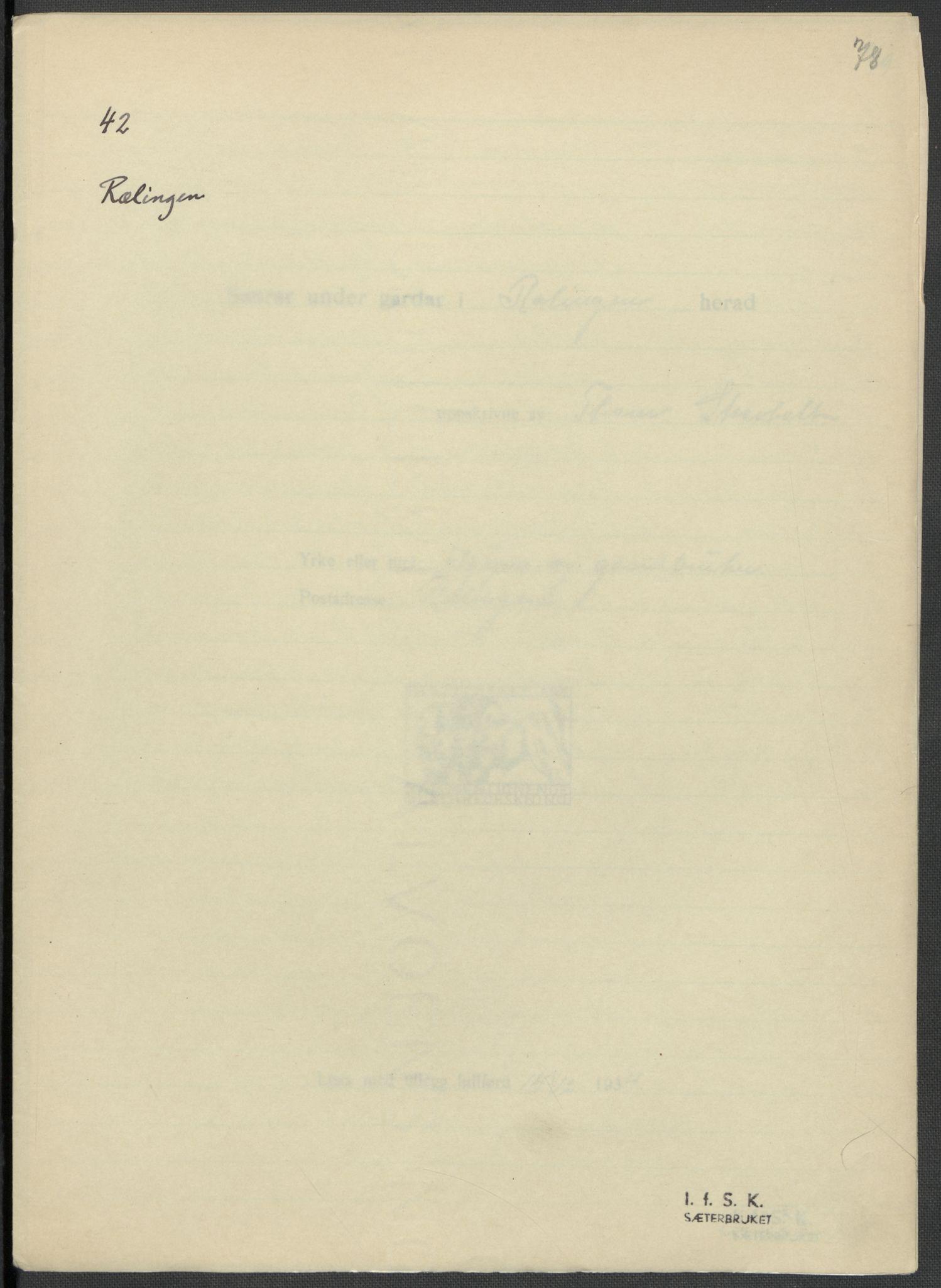 RA, Instituttet for sammenlignende kulturforskning, F/Fc/L0002: Eske B2:, 1932-1936, s. 78