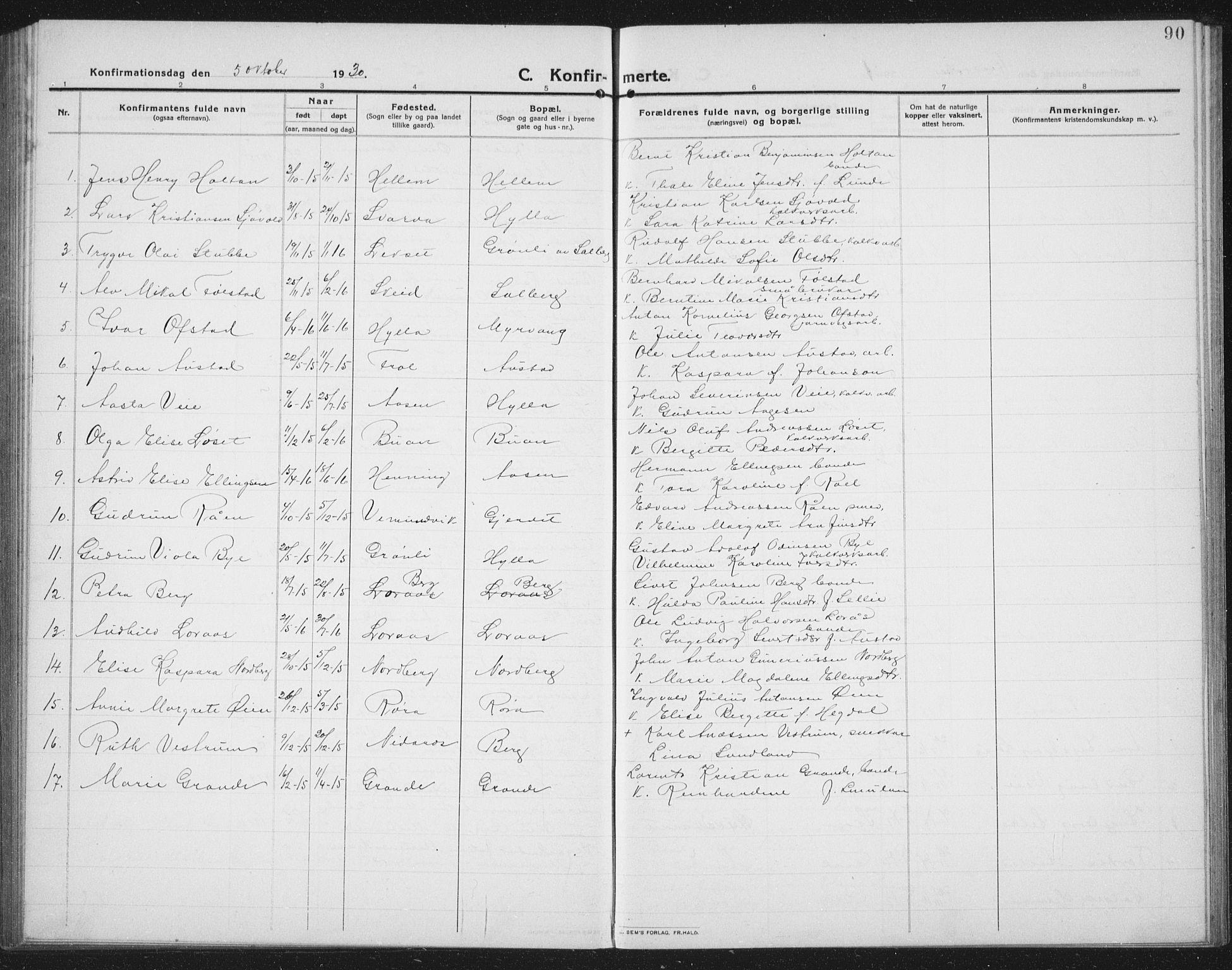 SAT, Ministerialprotokoller, klokkerbøker og fødselsregistre - Nord-Trøndelag, 731/L0312: Klokkerbok nr. 731C03, 1911-1935, s. 90