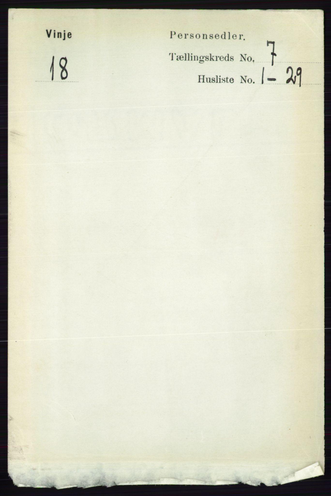 RA, Folketelling 1891 for 0834 Vinje herred, 1891, s. 1799