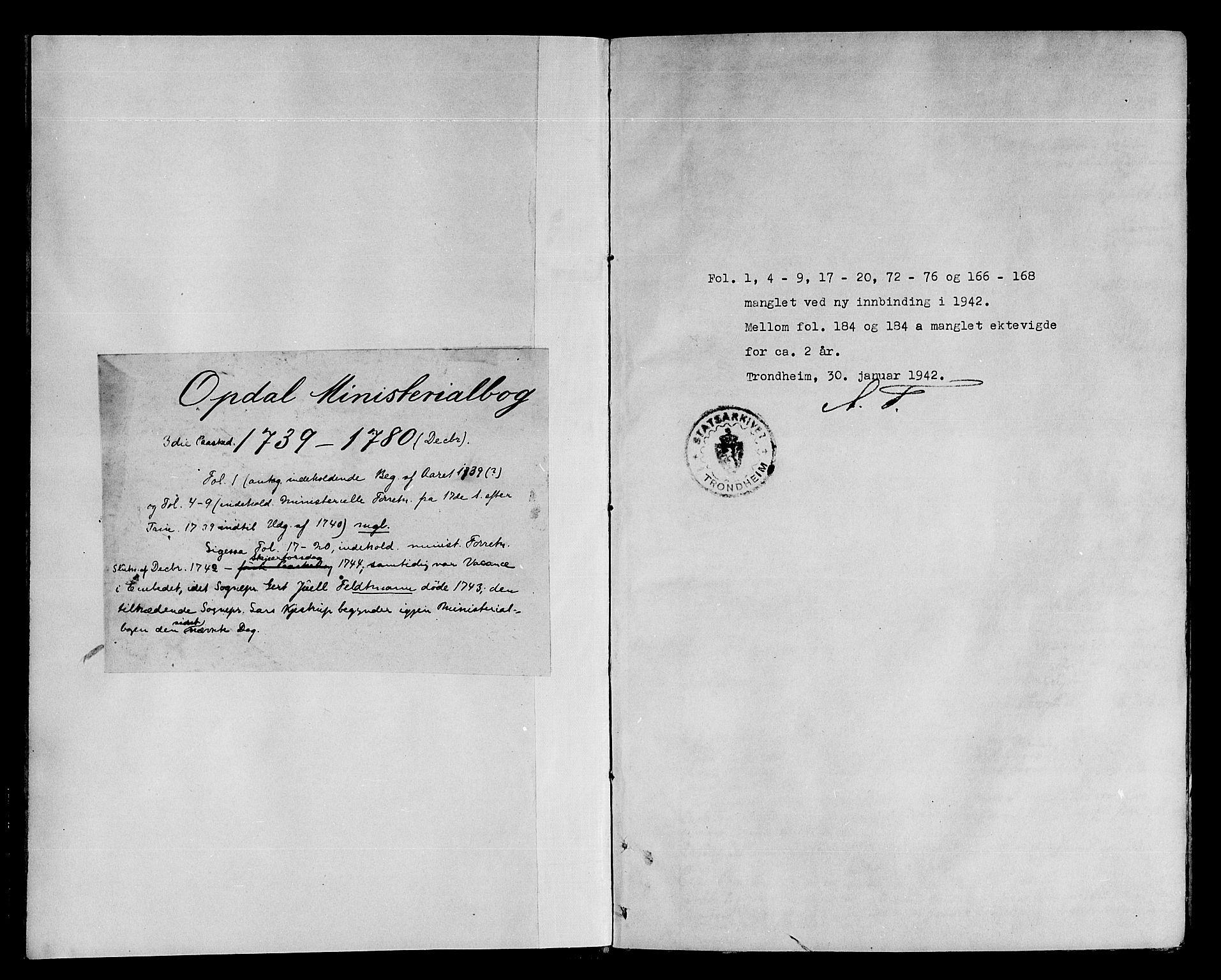 SAT, Ministerialprotokoller, klokkerbøker og fødselsregistre - Sør-Trøndelag, 678/L0891: Ministerialbok nr. 678A01, 1739-1780