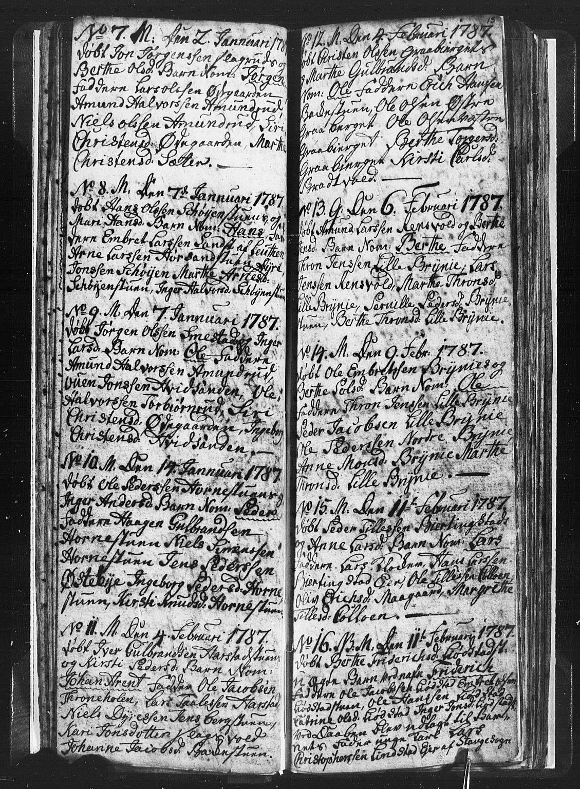 SAH, Romedal prestekontor, L/L0001: Klokkerbok nr. 1, 1785-1794, s. 13