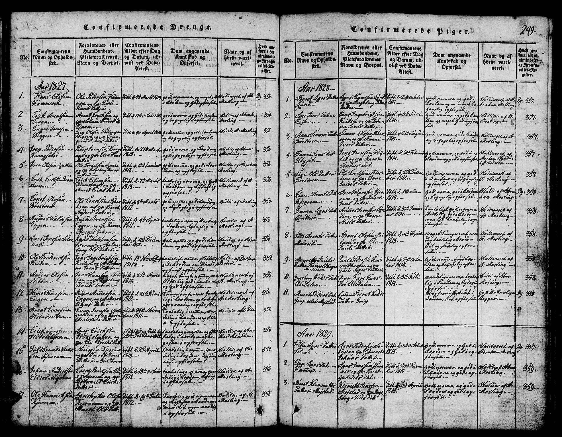 SAT, Ministerialprotokoller, klokkerbøker og fødselsregistre - Sør-Trøndelag, 665/L0776: Klokkerbok nr. 665C01, 1817-1837, s. 249