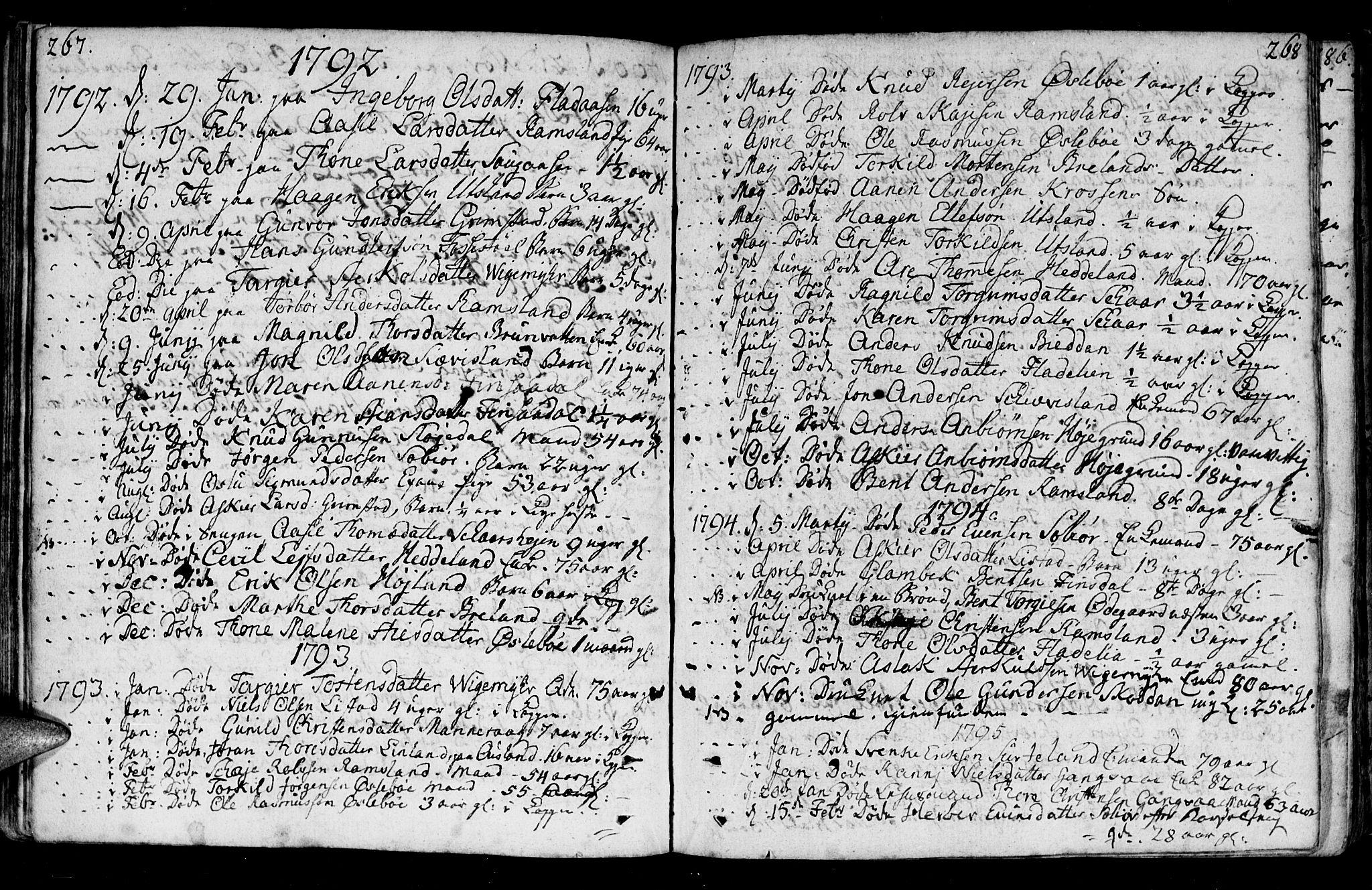 SAK, Holum sokneprestkontor, F/Fa/Fac/L0001: Ministerialbok nr. A 1, 1773-1820, s. 267-268