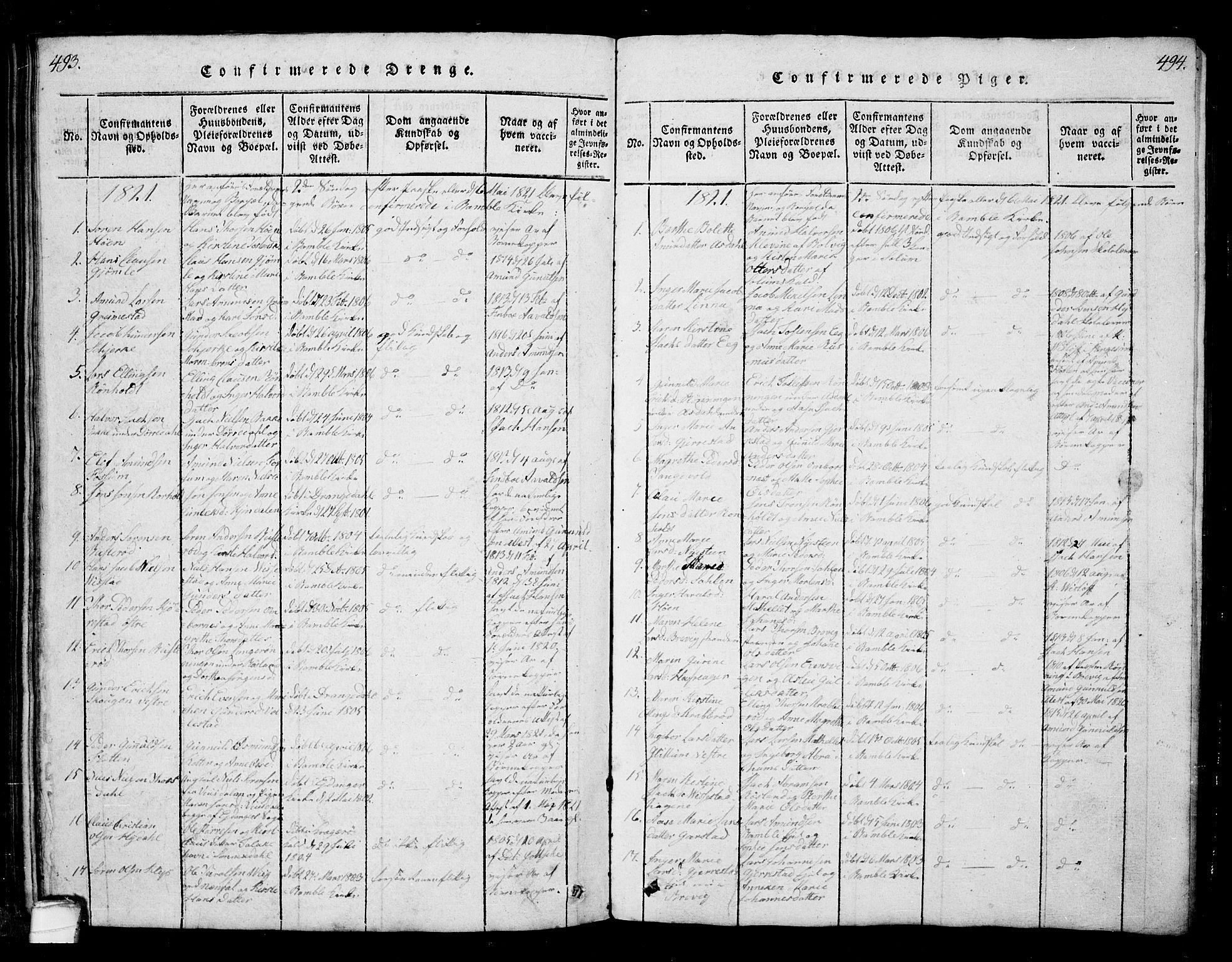 SAKO, Bamble kirkebøker, G/Ga/L0005: Klokkerbok nr. I 5, 1814-1855, s. 493-494