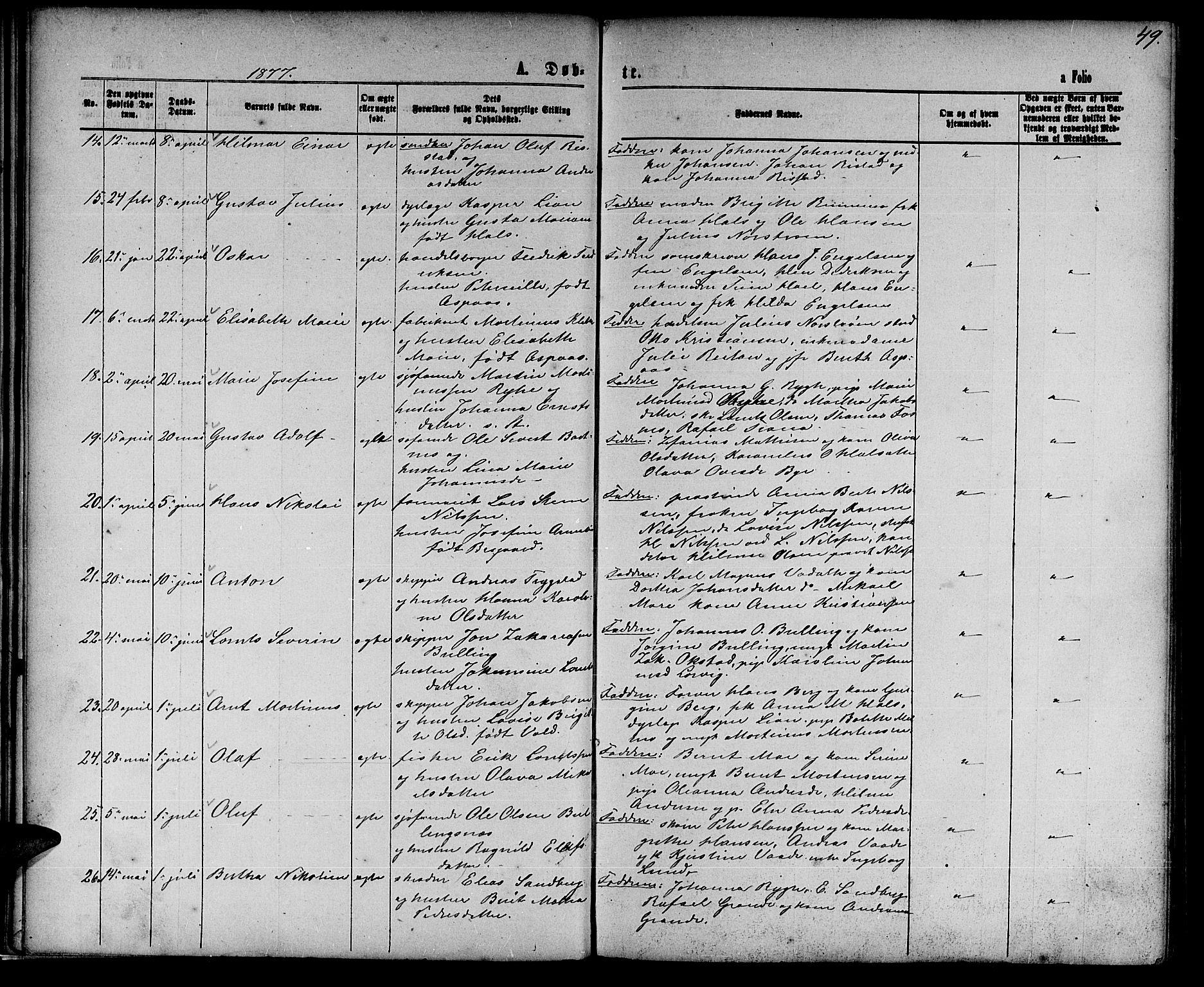SAT, Ministerialprotokoller, klokkerbøker og fødselsregistre - Nord-Trøndelag, 739/L0373: Klokkerbok nr. 739C01, 1865-1882, s. 49
