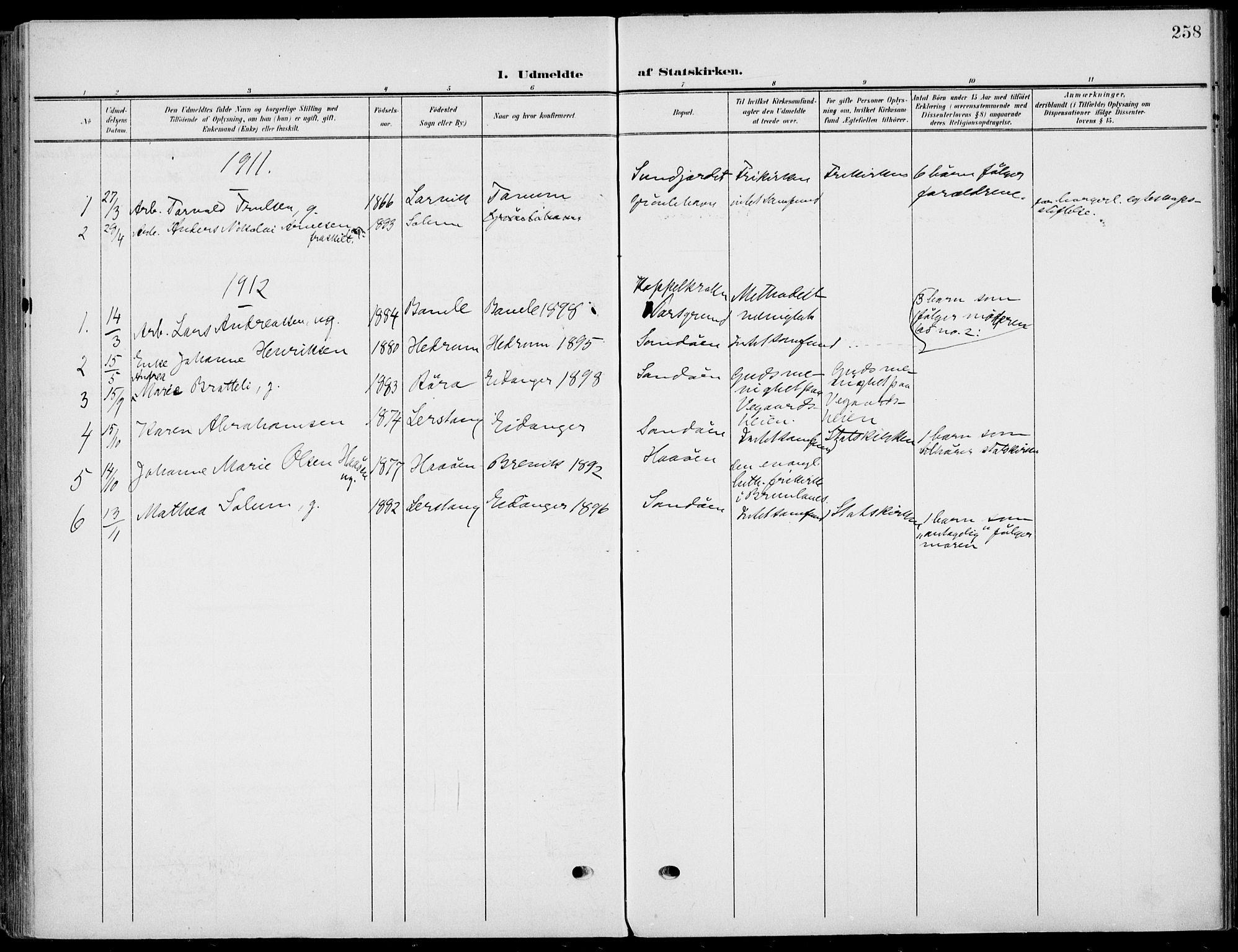 SAKO, Eidanger kirkebøker, F/Fa/L0013: Ministerialbok nr. 13, 1900-1913, s. 258