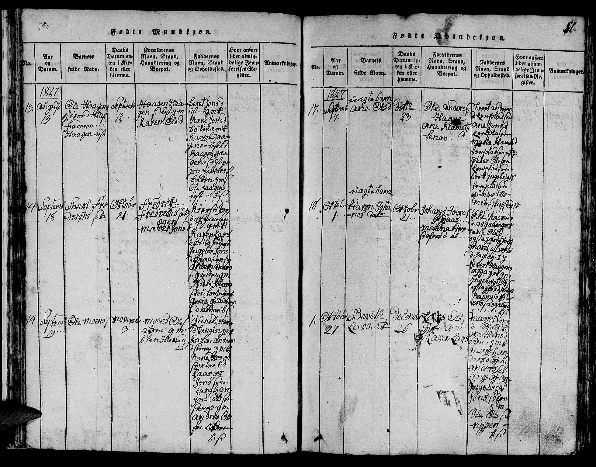 SAT, Ministerialprotokoller, klokkerbøker og fødselsregistre - Sør-Trøndelag, 613/L0393: Klokkerbok nr. 613C01, 1816-1886, s. 51