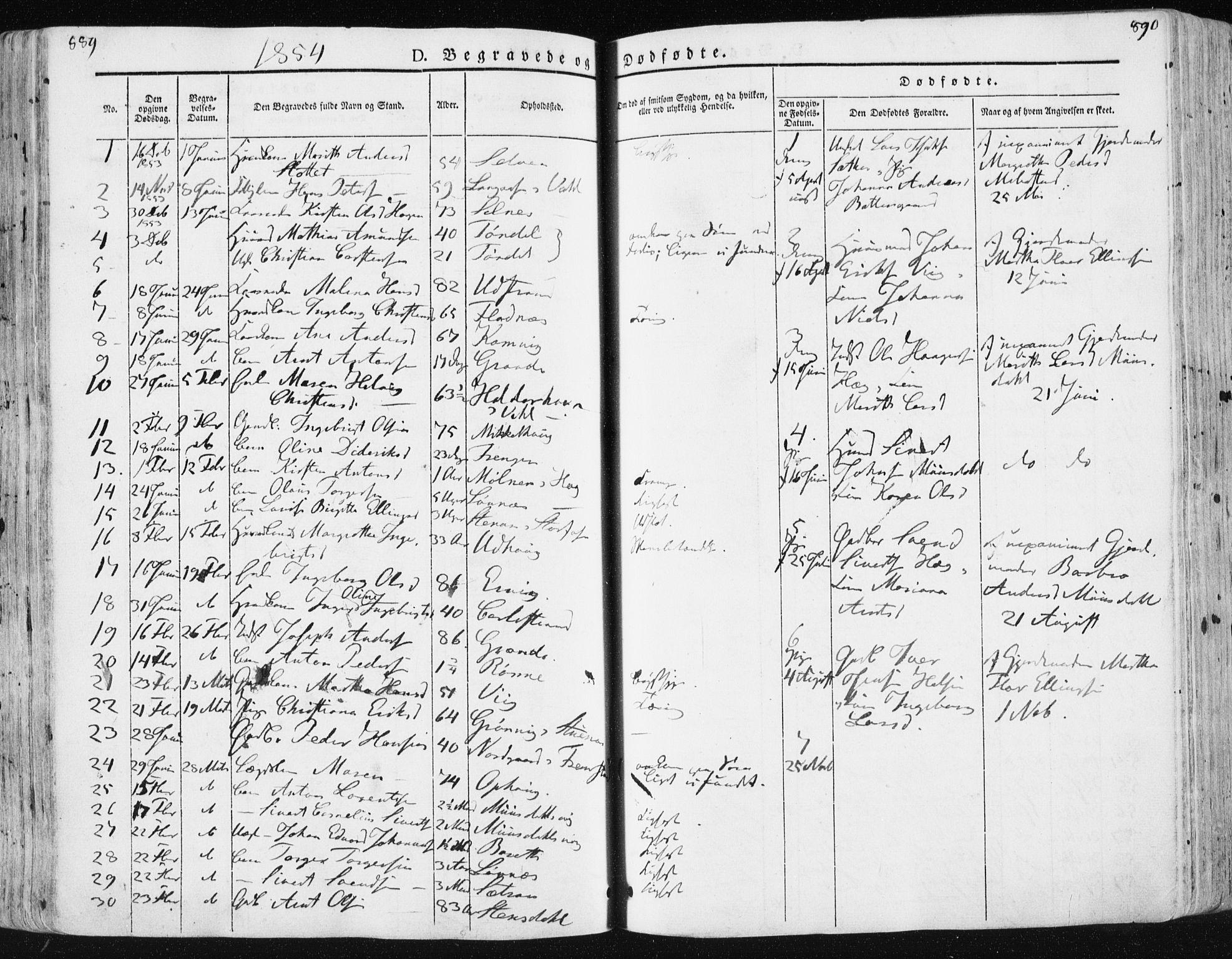 SAT, Ministerialprotokoller, klokkerbøker og fødselsregistre - Sør-Trøndelag, 659/L0736: Ministerialbok nr. 659A06, 1842-1856, s. 889-890