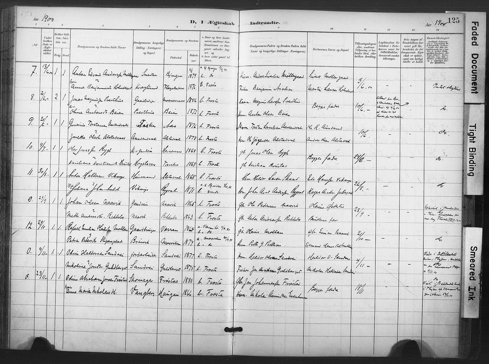 SAT, Ministerialprotokoller, klokkerbøker og fødselsregistre - Nord-Trøndelag, 713/L0122: Ministerialbok nr. 713A11, 1899-1910, s. 125