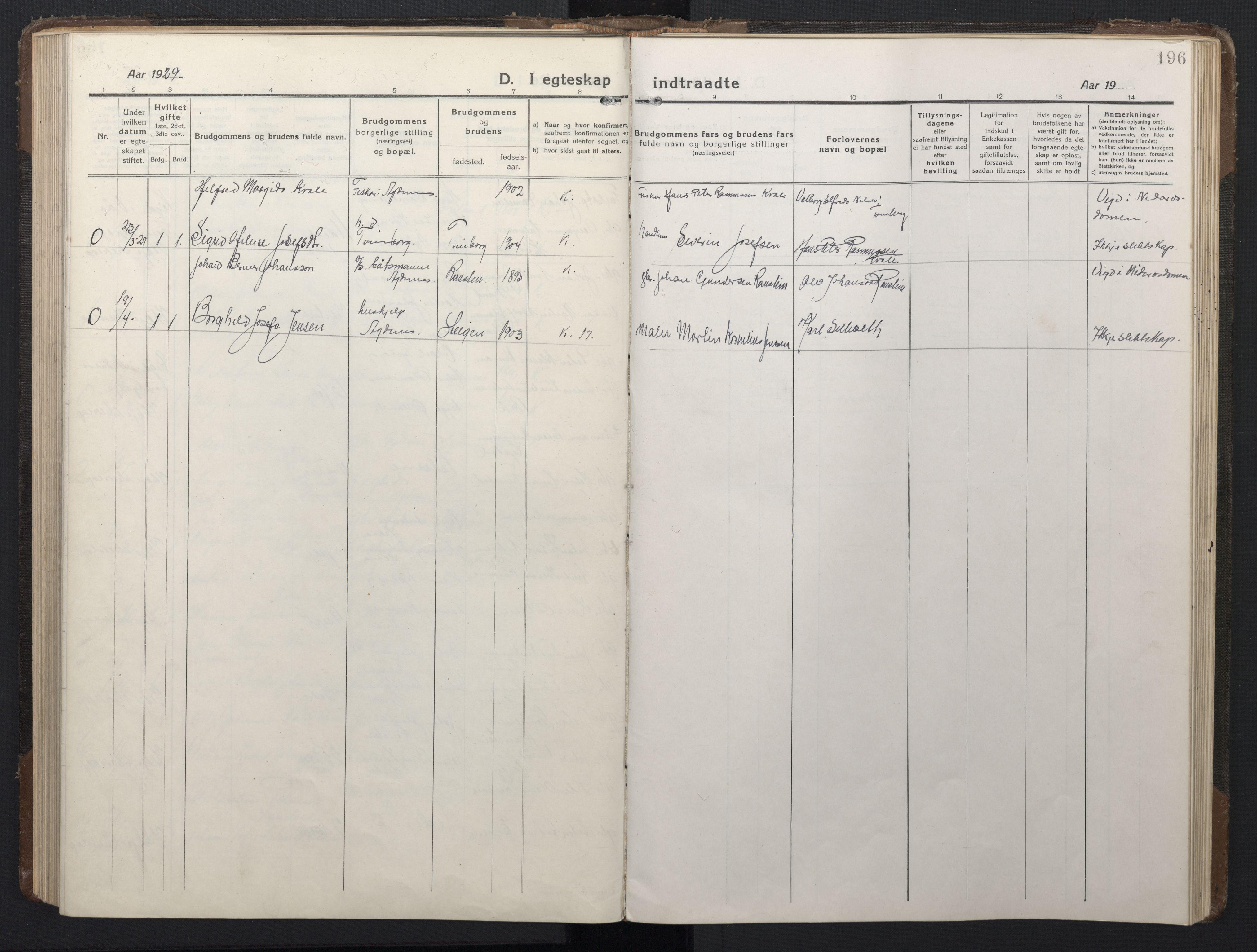 SAT, Ministerialprotokoller, klokkerbøker og fødselsregistre - Sør-Trøndelag, 662/L0758: Klokkerbok nr. 662C03, 1918-1948, s. 196